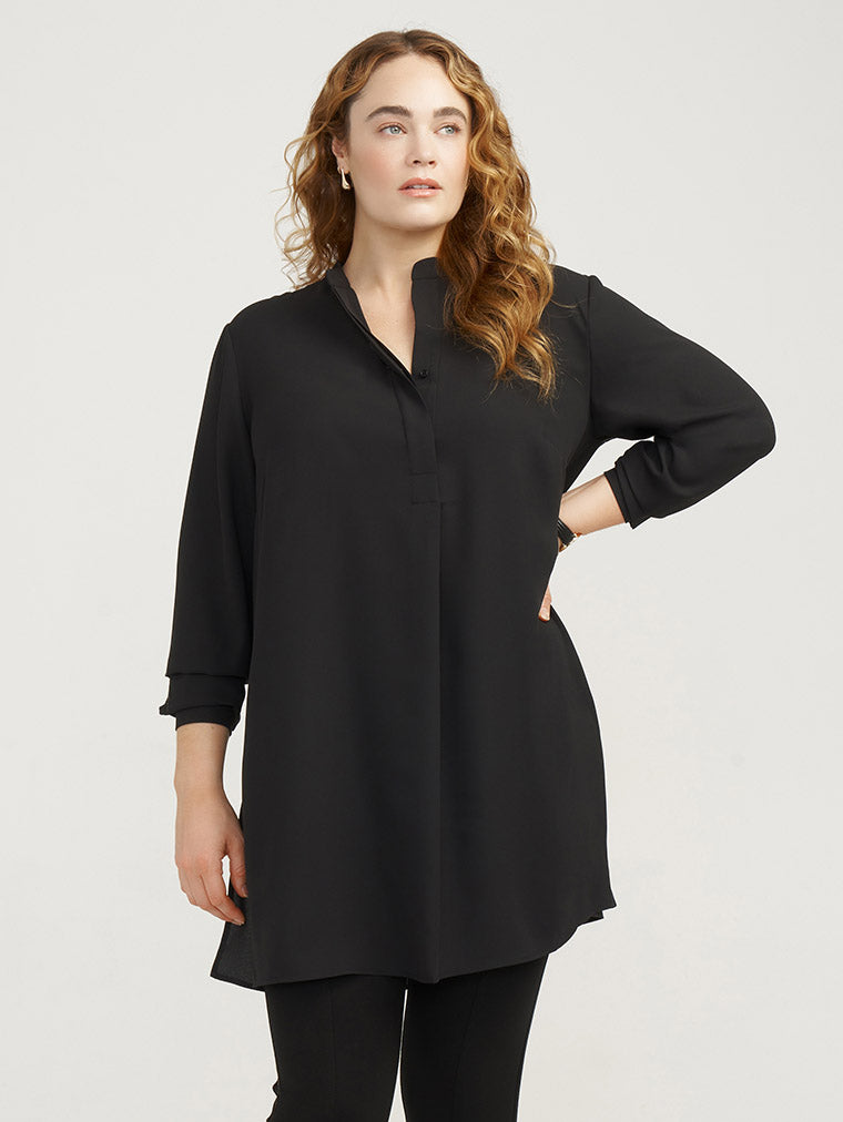 Anne Klein Longer Plus size Tunic in Black on Model