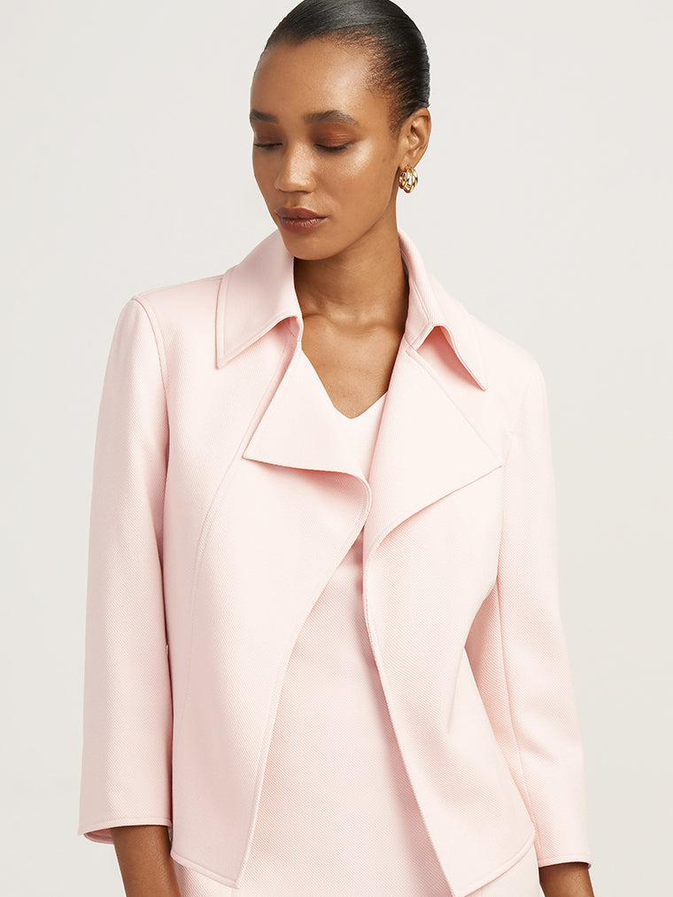 Anne Klein Twill Wide Collar Jacket