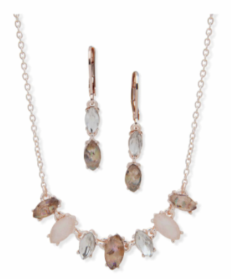 Navette Necklace & Earring Pouch Set