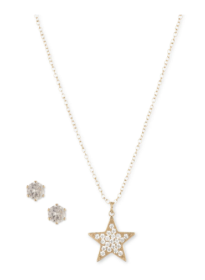 Anne Klein Crystal Star Pendant with Earring Set in Gift Box