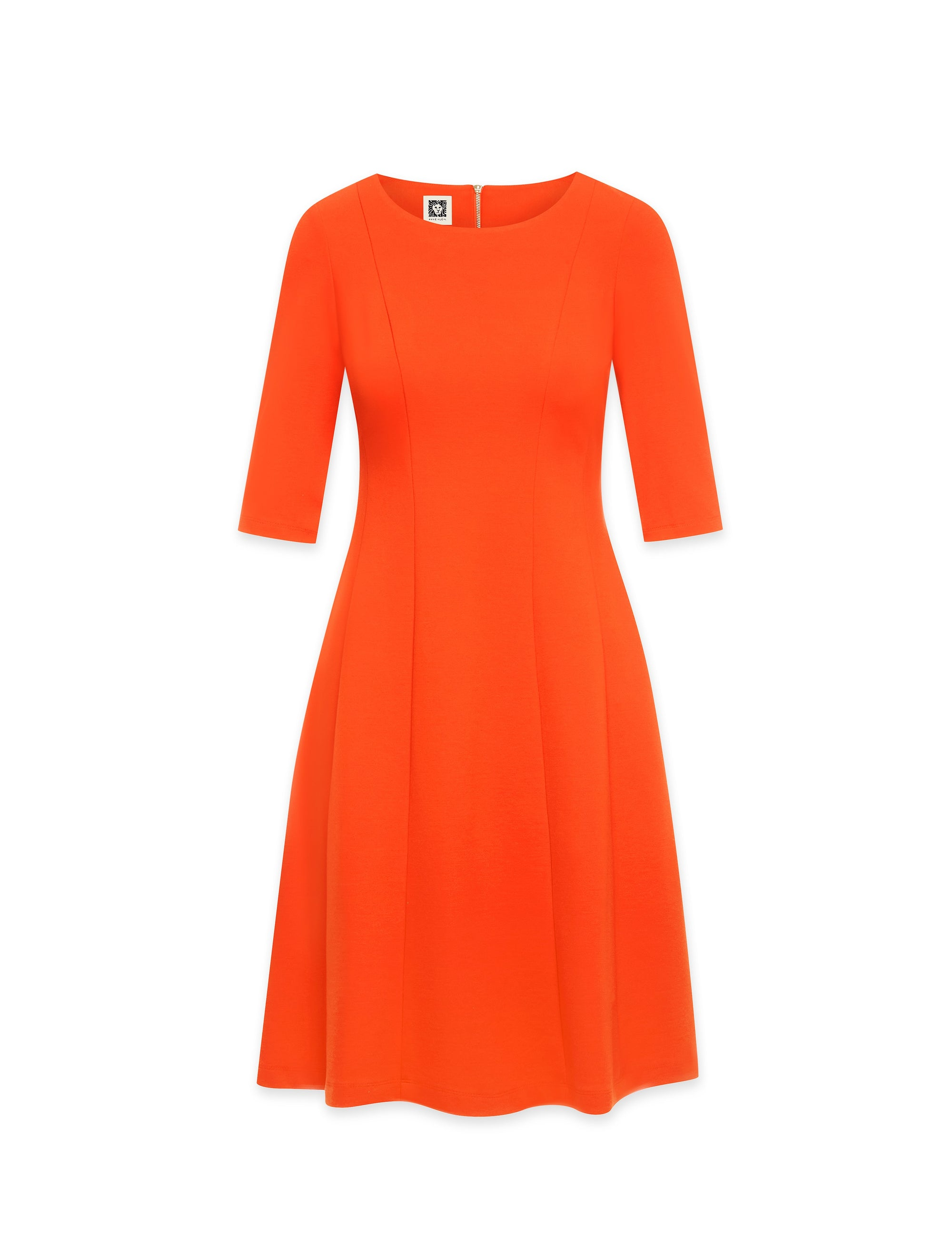 Anne Klein Three-Quarter Sleeve Fit & Flare Dress Poppy
