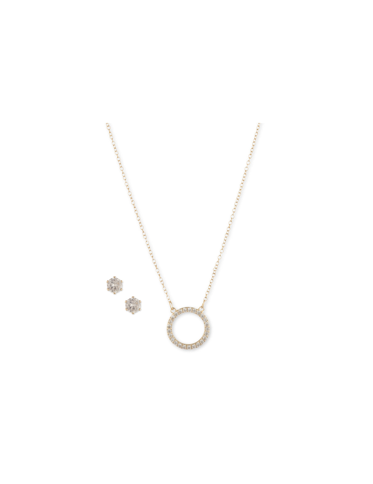 Gold-tone Crystal Circle Pendant with Earring Set in Gift Box