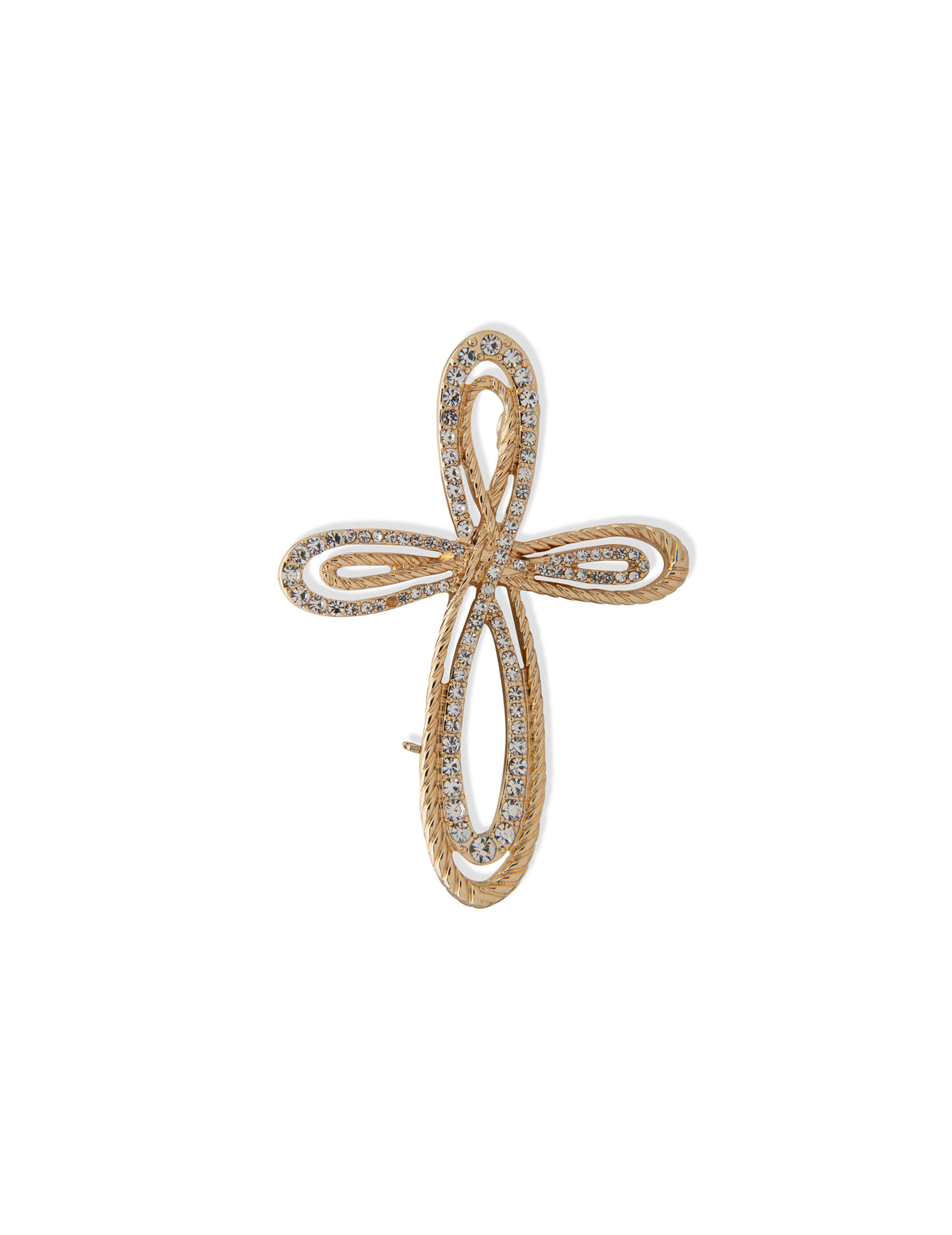 Gold-tone Cross Brooch in Gold Gift Box