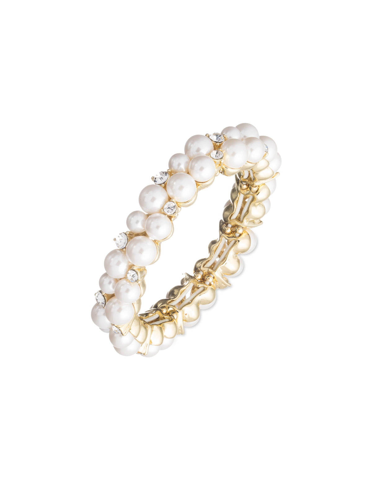 Clustered Pearl and Crystal Stretch Bracelet
