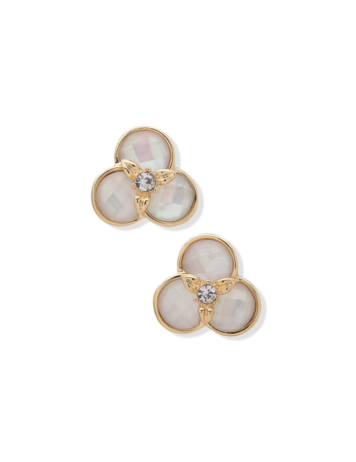 Anne Klein Gold-Tone Flower Button Clip Earrings