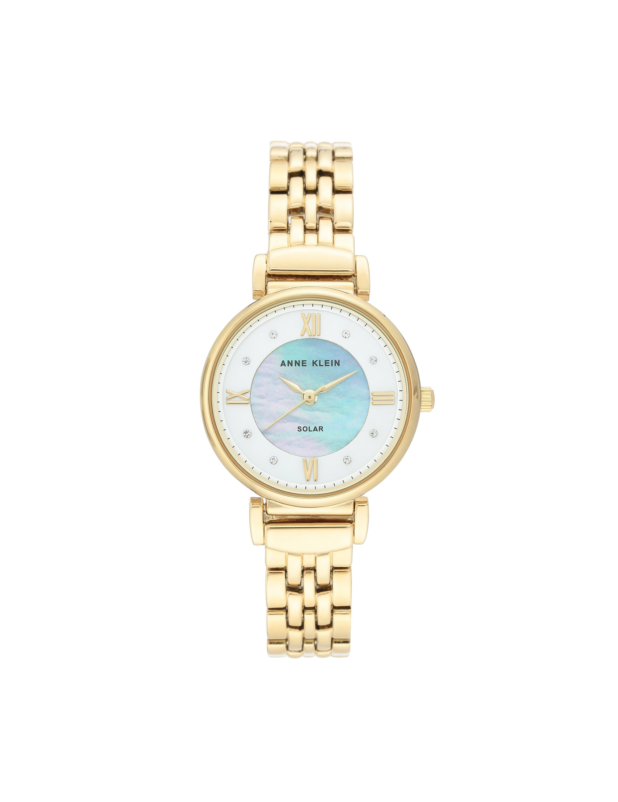 Gold Considered Solar Powered Swarovski Crystal Accented Dial Bracelet Watch