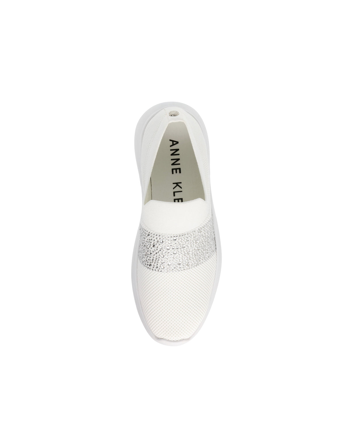 Anne Klein Libbie Elastic Crystal Front Knit Sneaker in White