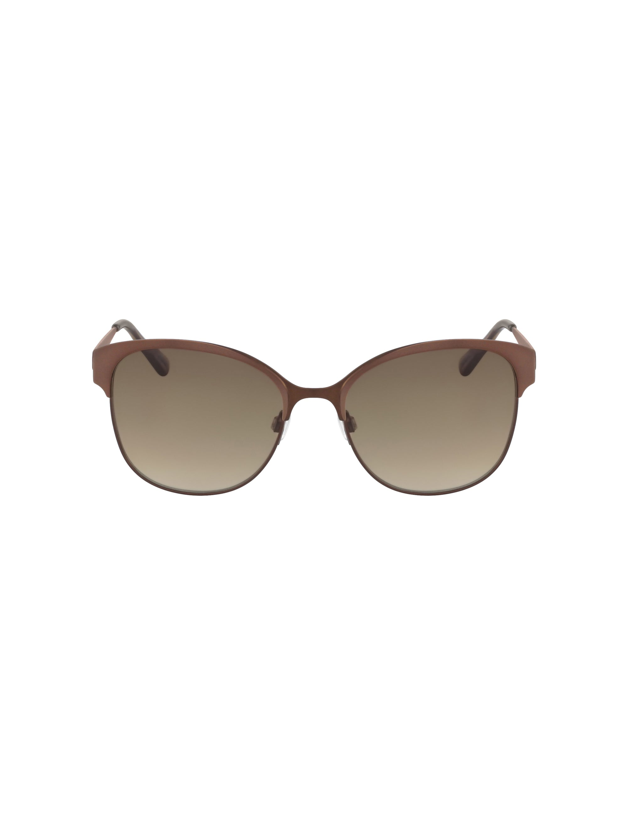 Mocha Two-Tone Metal Square Sunglasses