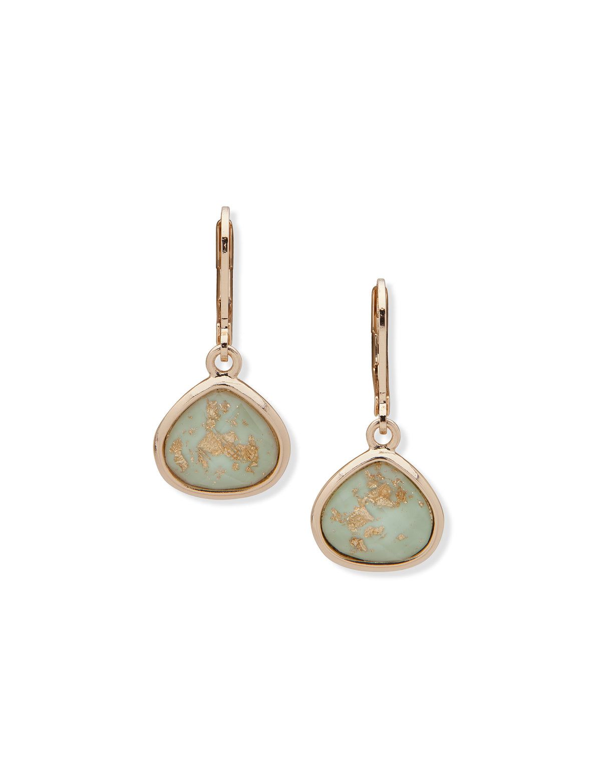 Pierced Stone Green Drop Earrings