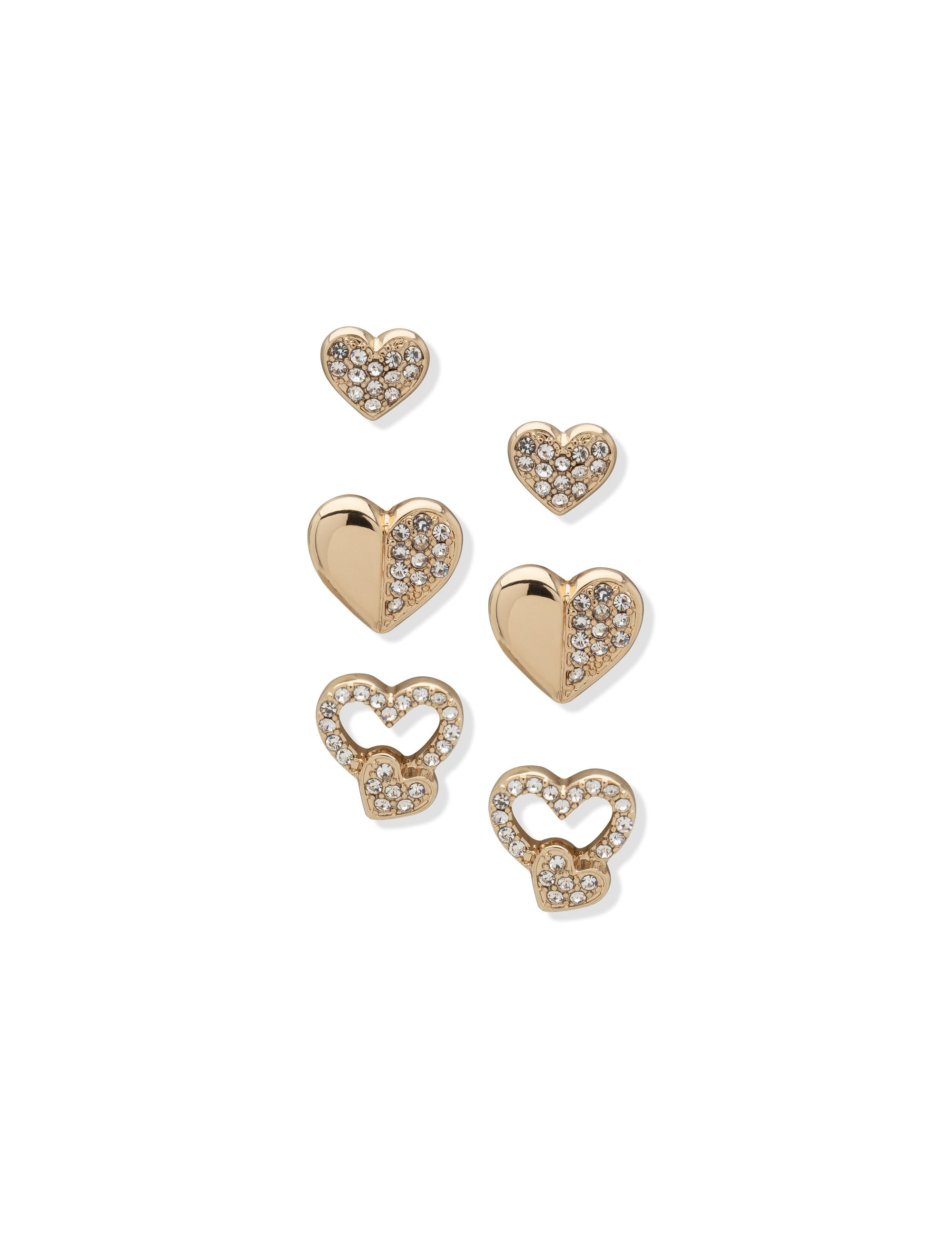 Pierced Earring 3 Button Hearts Set