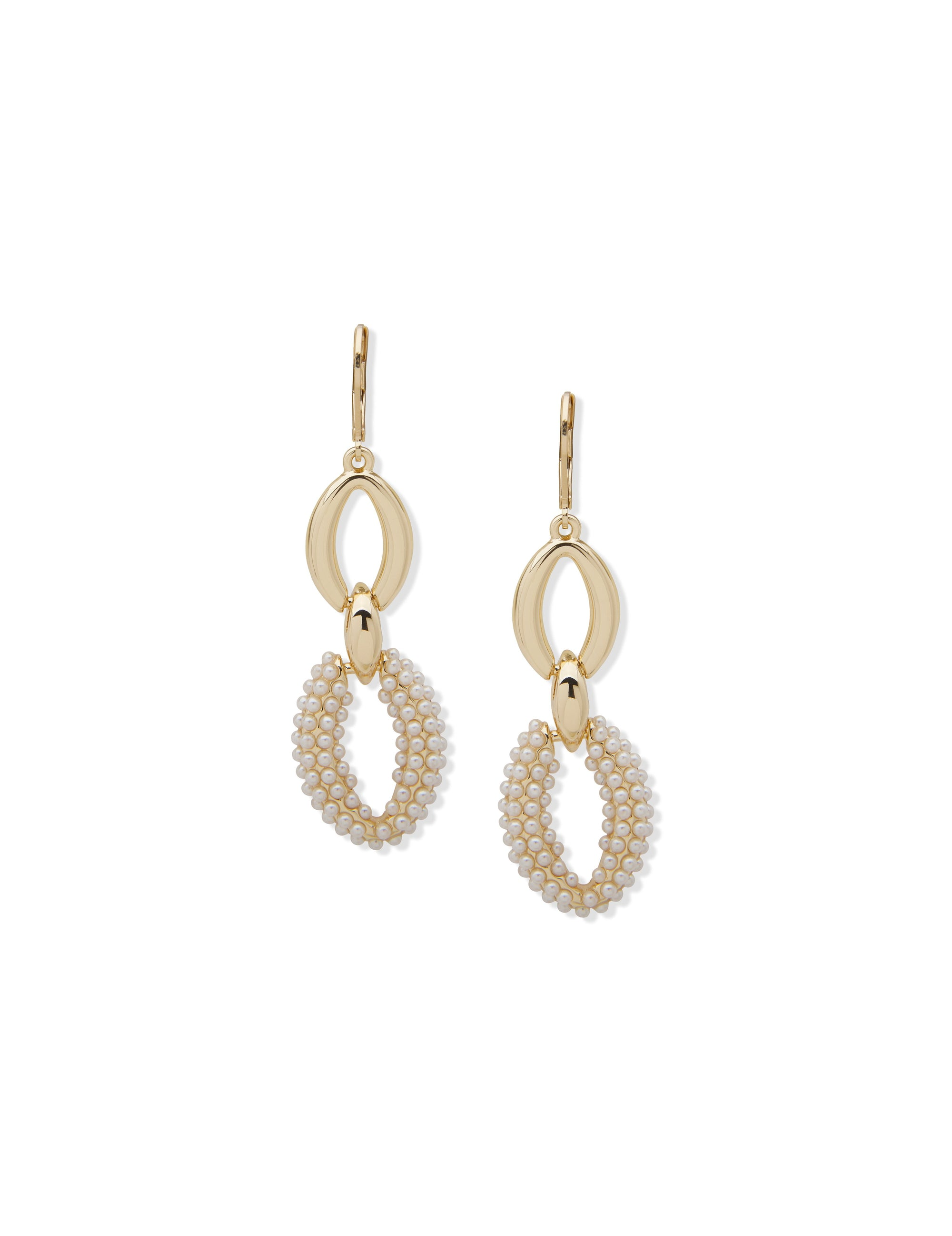 Pierced Earring Caviar Pearl Double Drop