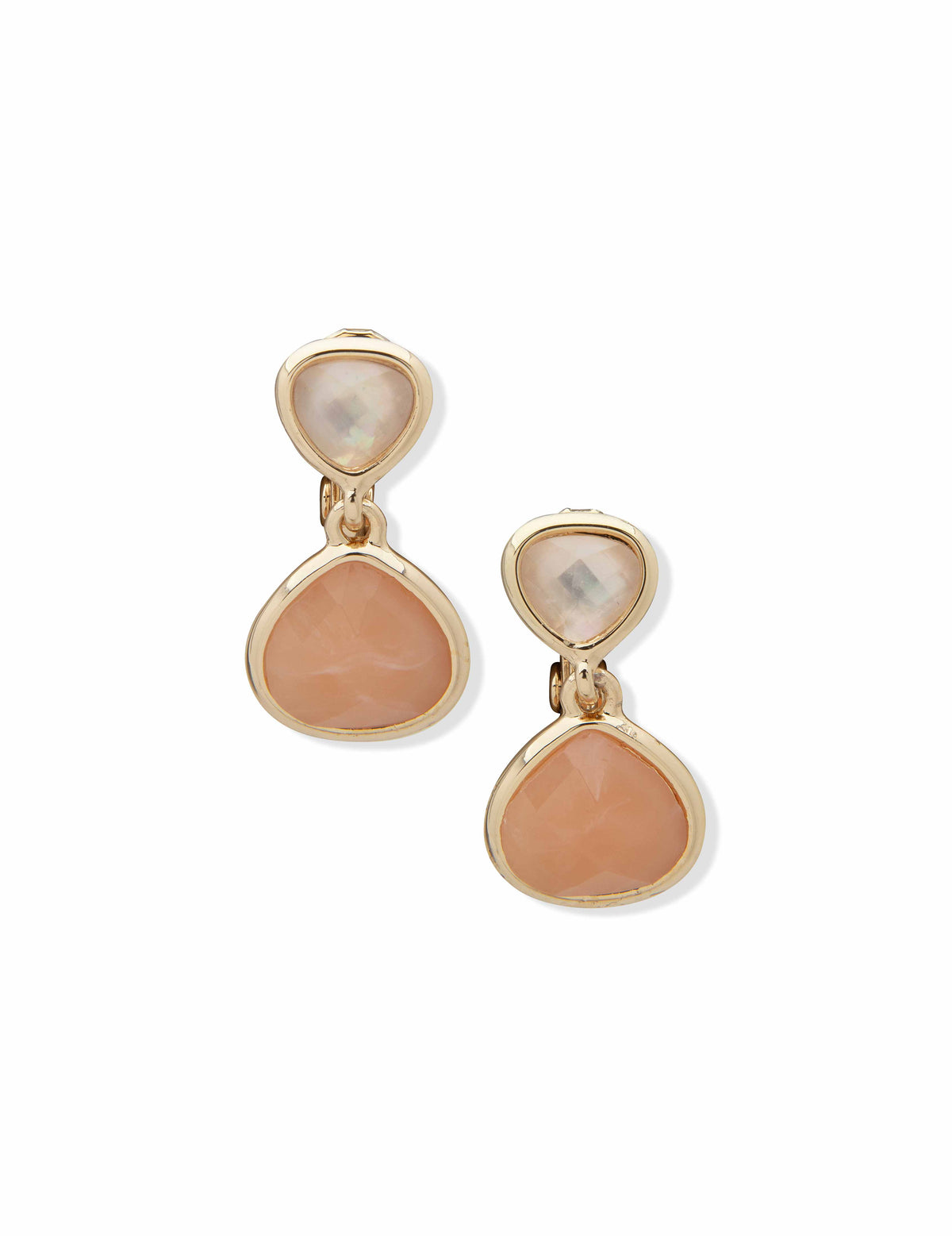 Anne Klein Gold-Tone and Peach Multi Double Drop Clip Earrings