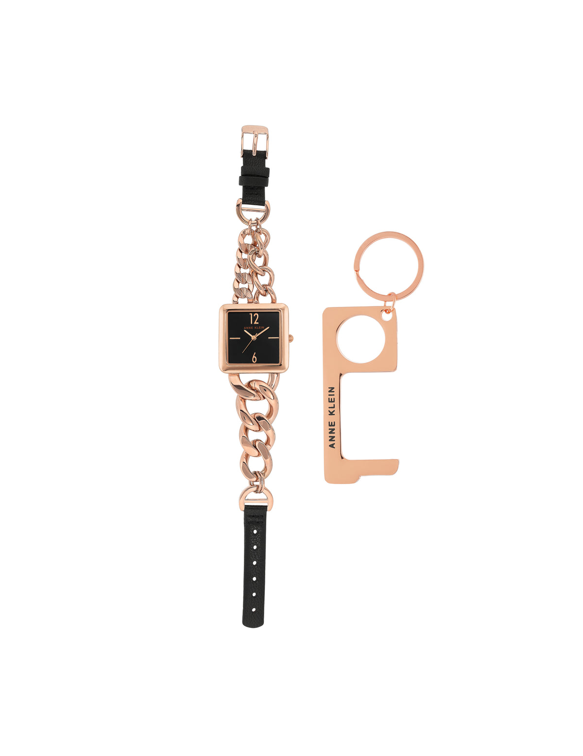 Square Case Chain Watch and No Touch Key Set