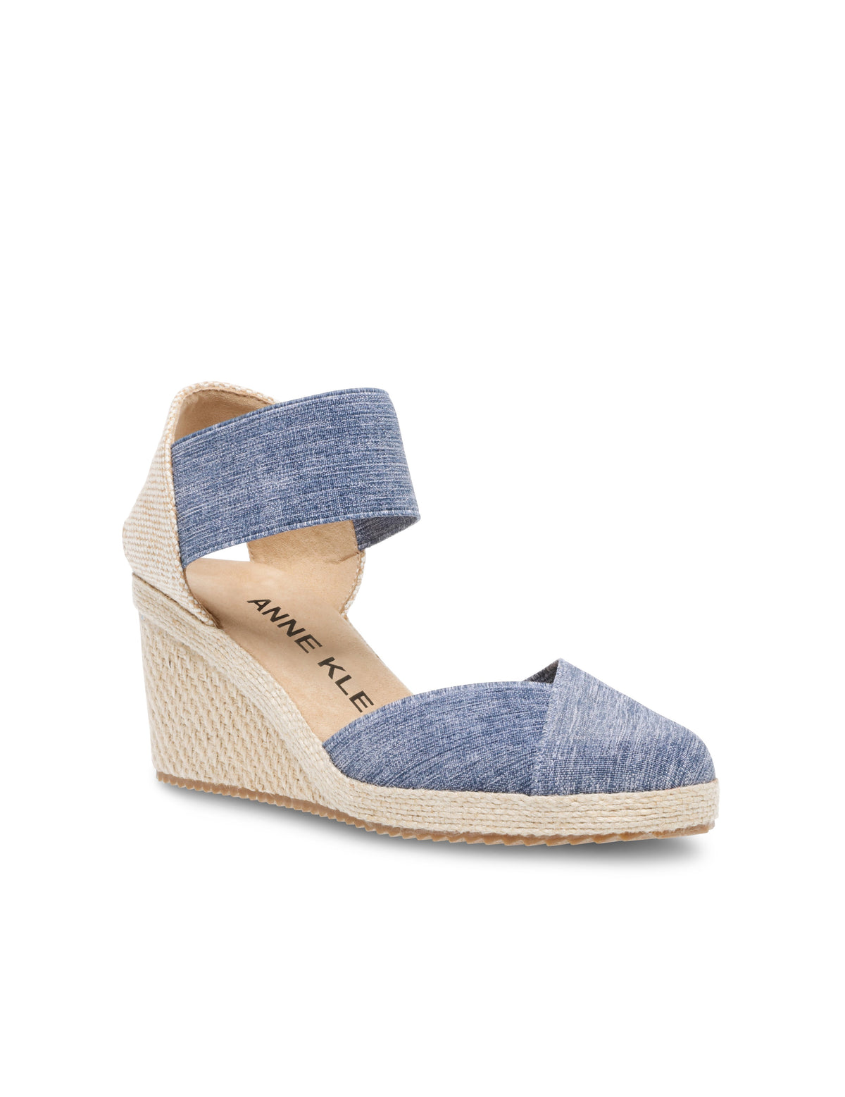 Anne Klein Zoey Round Toe Espadrille Wedge in Denim