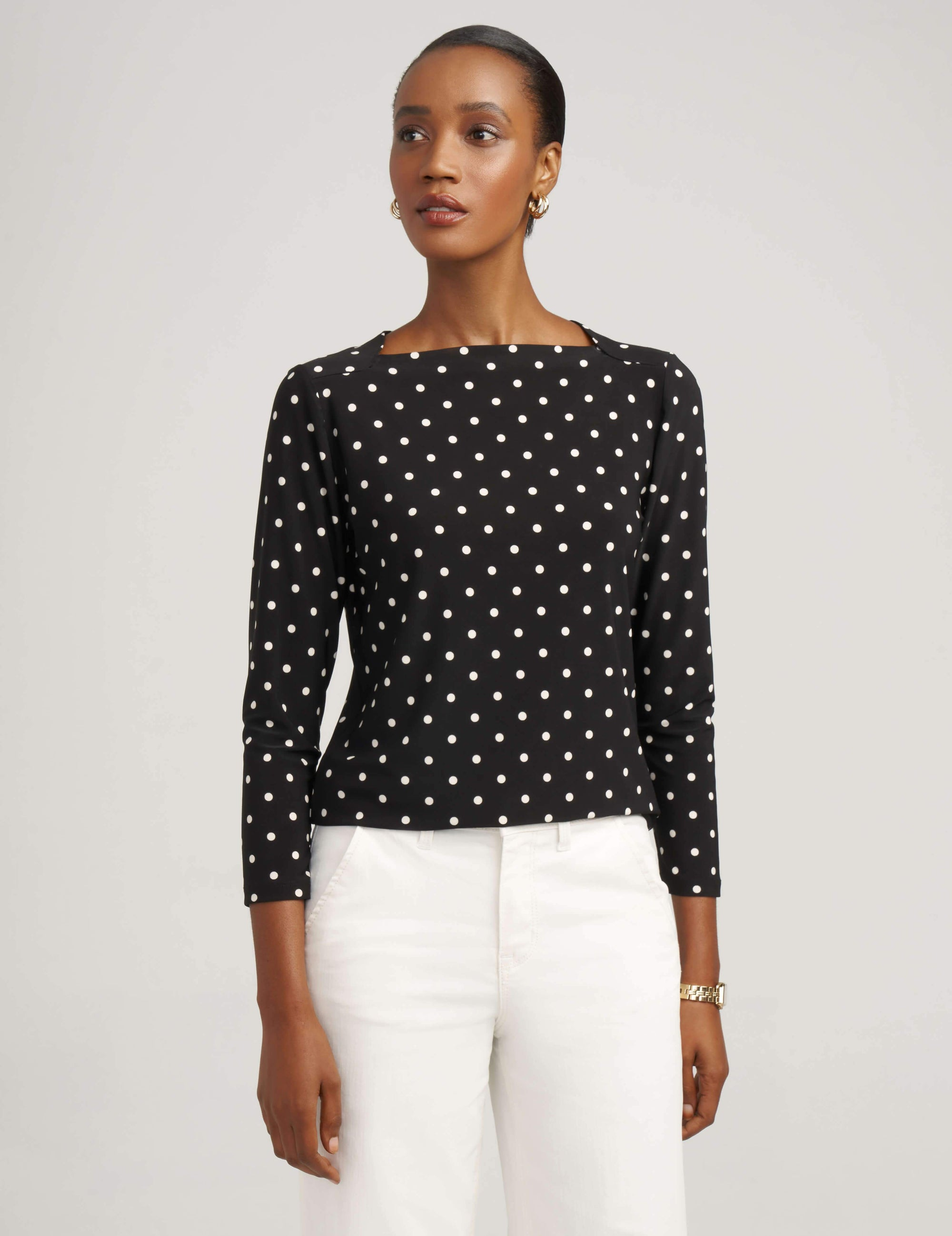 Anne Klein Black/White Beekman Dot Sailor Top