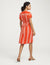 Anne Klein Bilbao Stripe V-Neck Short Sleeve Dress Poppy/Anne White