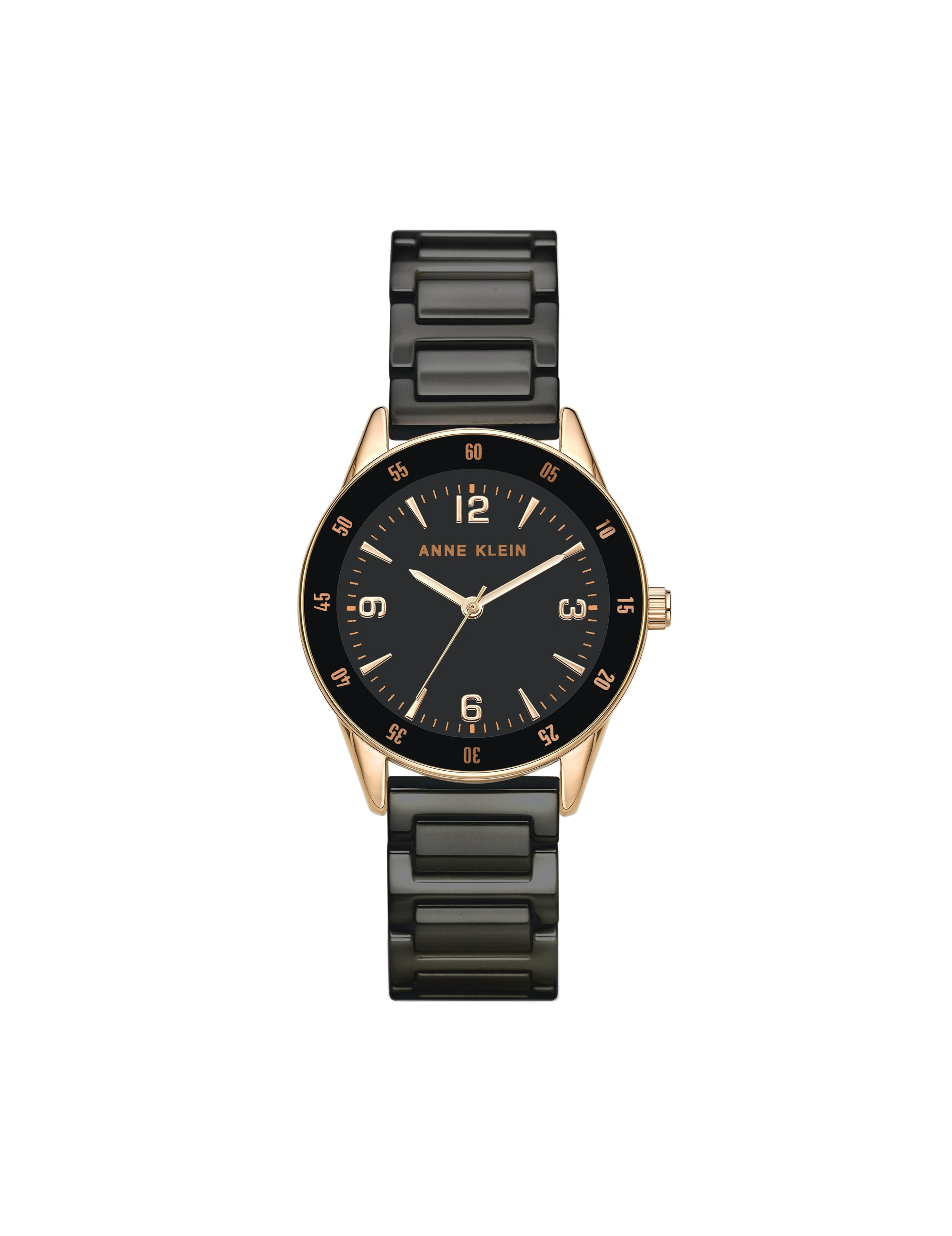 black rose gold-tone ceramic bracelet watch