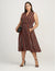 Anne Klein Cinnamon/Black Broadway Lights Drawstring Midi Dress