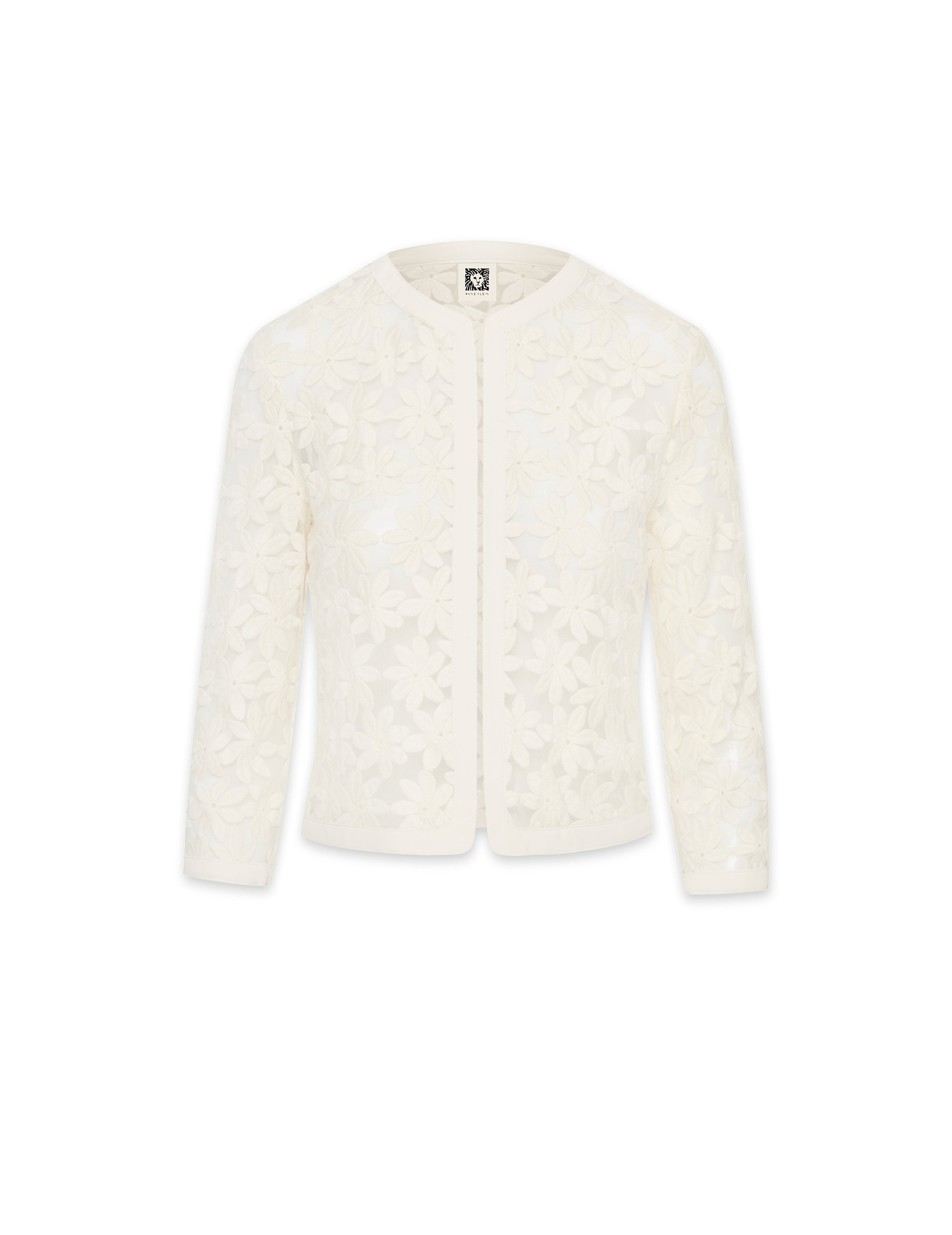 Anne Klein White Lace Cardigan Jacket With Trim