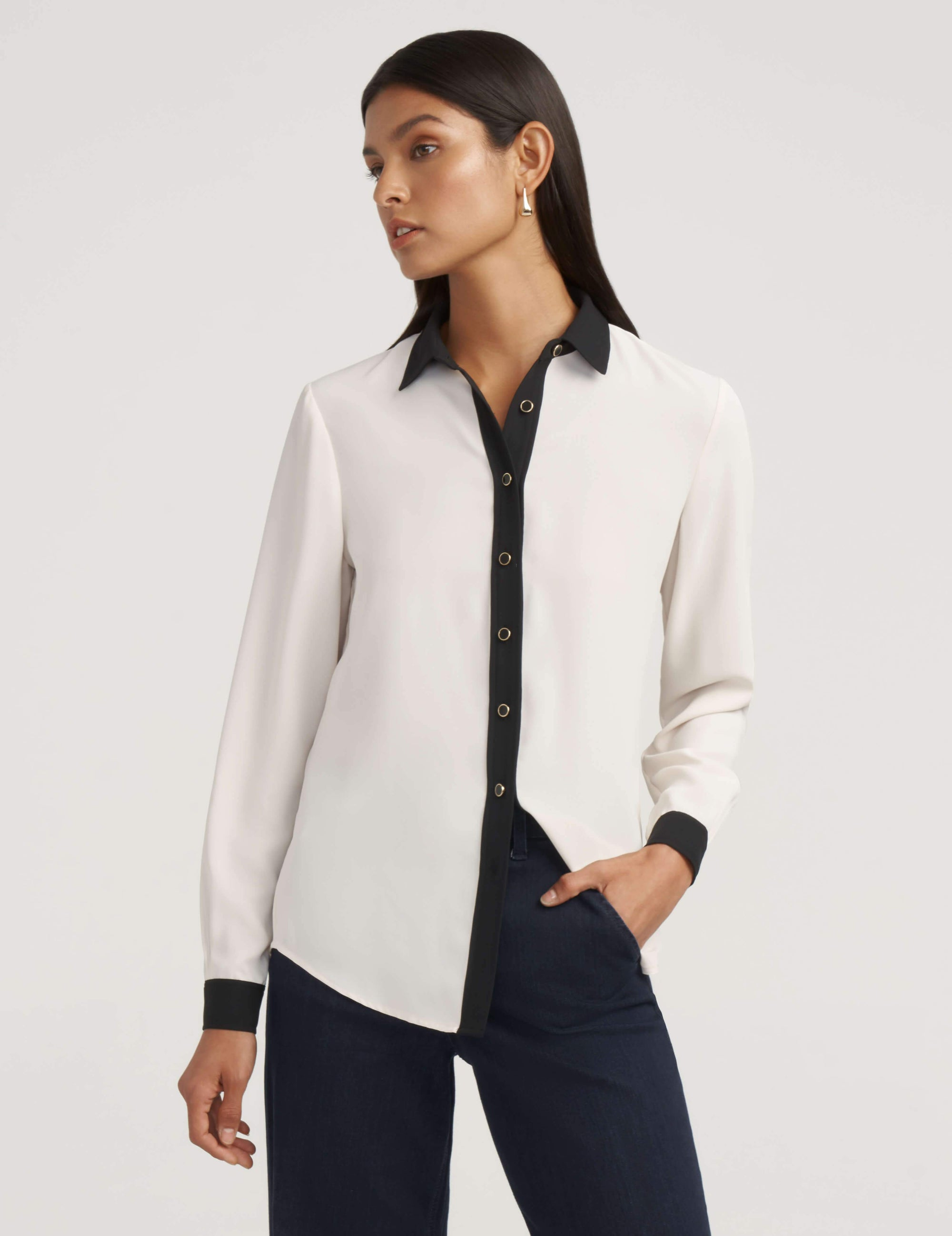 Anne White/ Anne Black Button Down Blouse With Contrast Trim