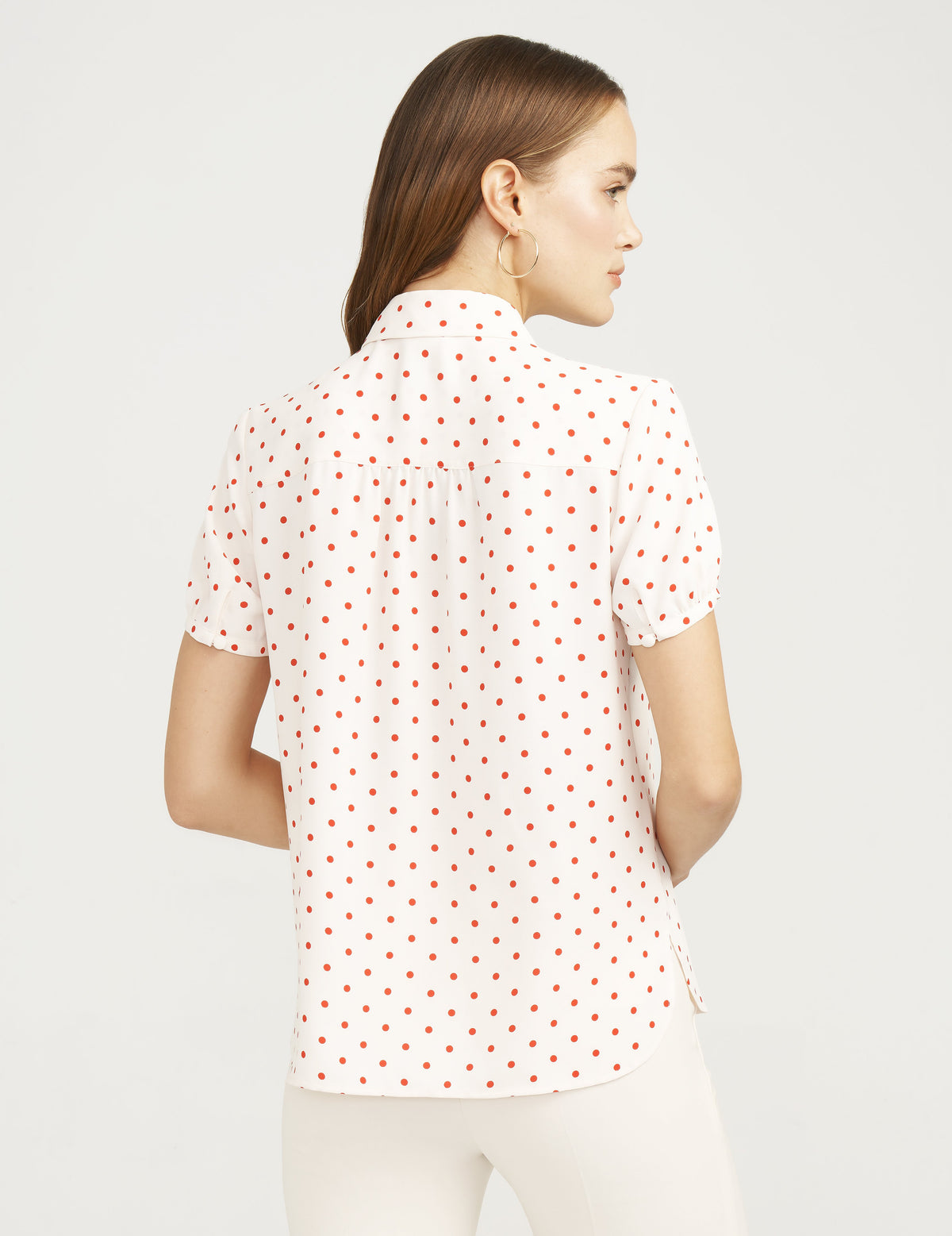 Anne Klein Dot Print Peter Pan Collar Blouse Anne White/Poppy