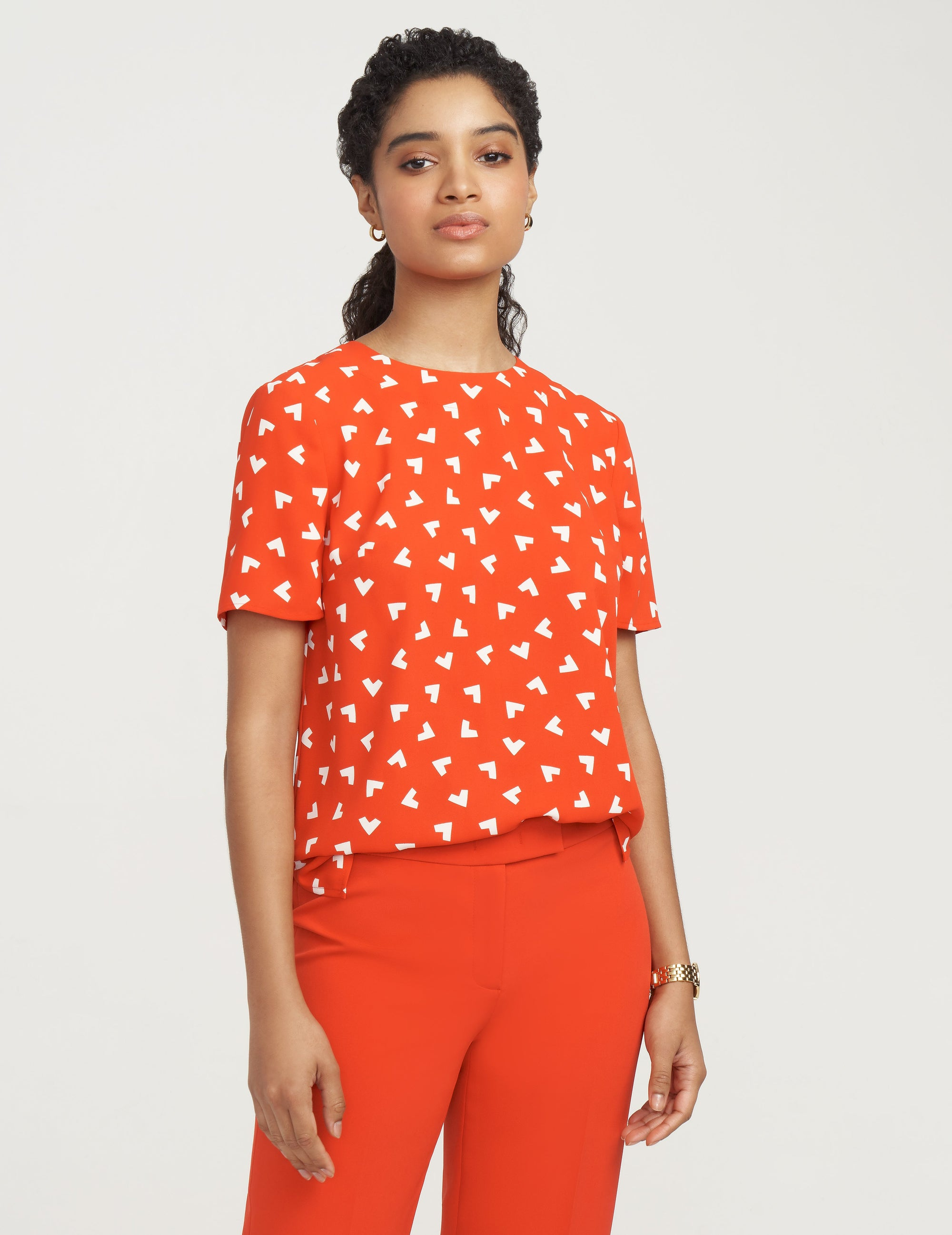 Anne Klein Charleston Print Short Sleeve Blouse Poppy/Anne White