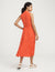 Anne Klein Charleston Print Drawstring Midi Dress Poppy/Anne White