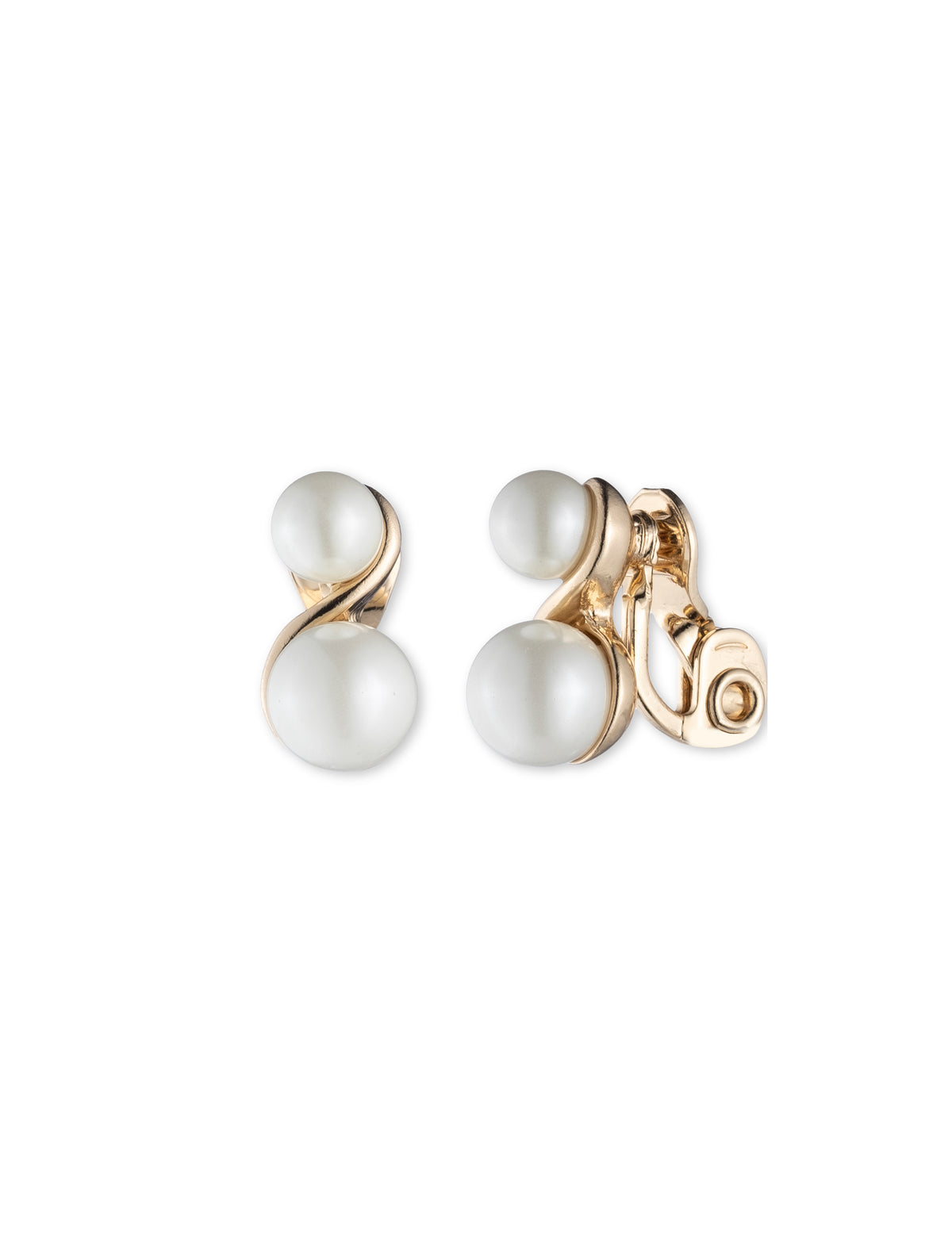 Double Blanc Pearl Gold-Tone Clip Earrings