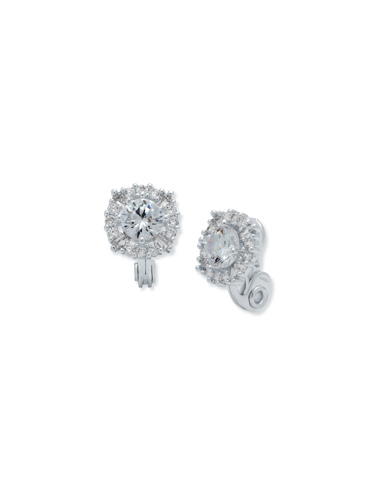 Silver-Tone Crystal Pave Clip Earrings
