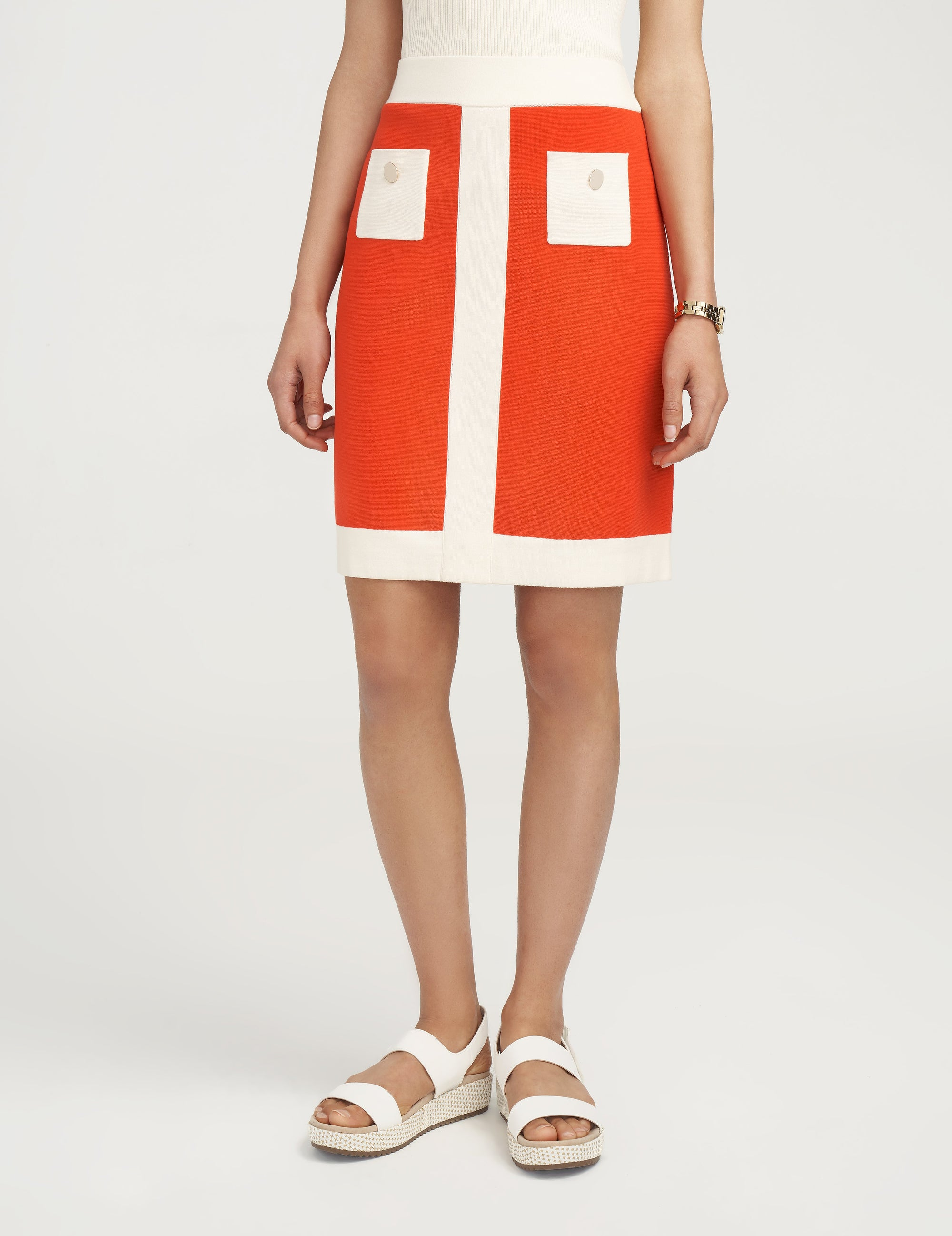 Anne Klein Colorblock Knit Skirt Poppy/Anne White