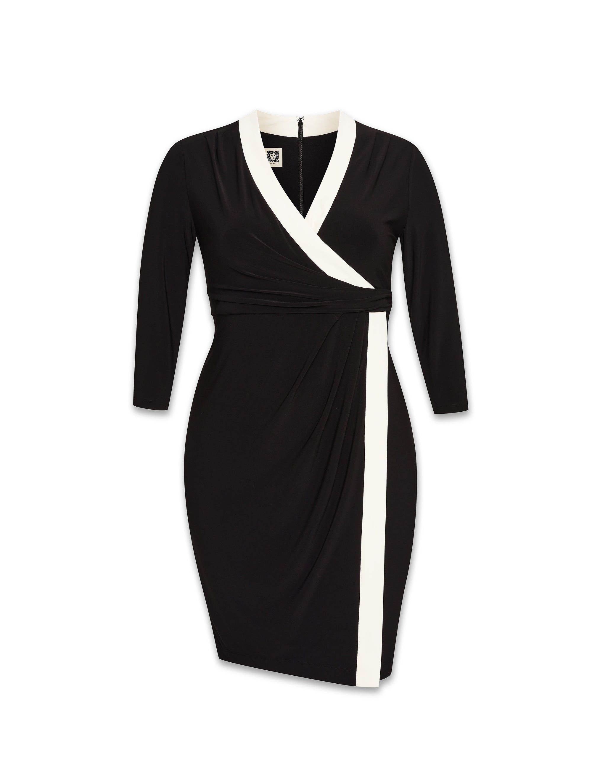 Anne Klein Black/White Colorblock Faux Wrap Dress