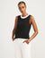 Anne Klein Black/White Colorblocked Sleeveless Knit Shell