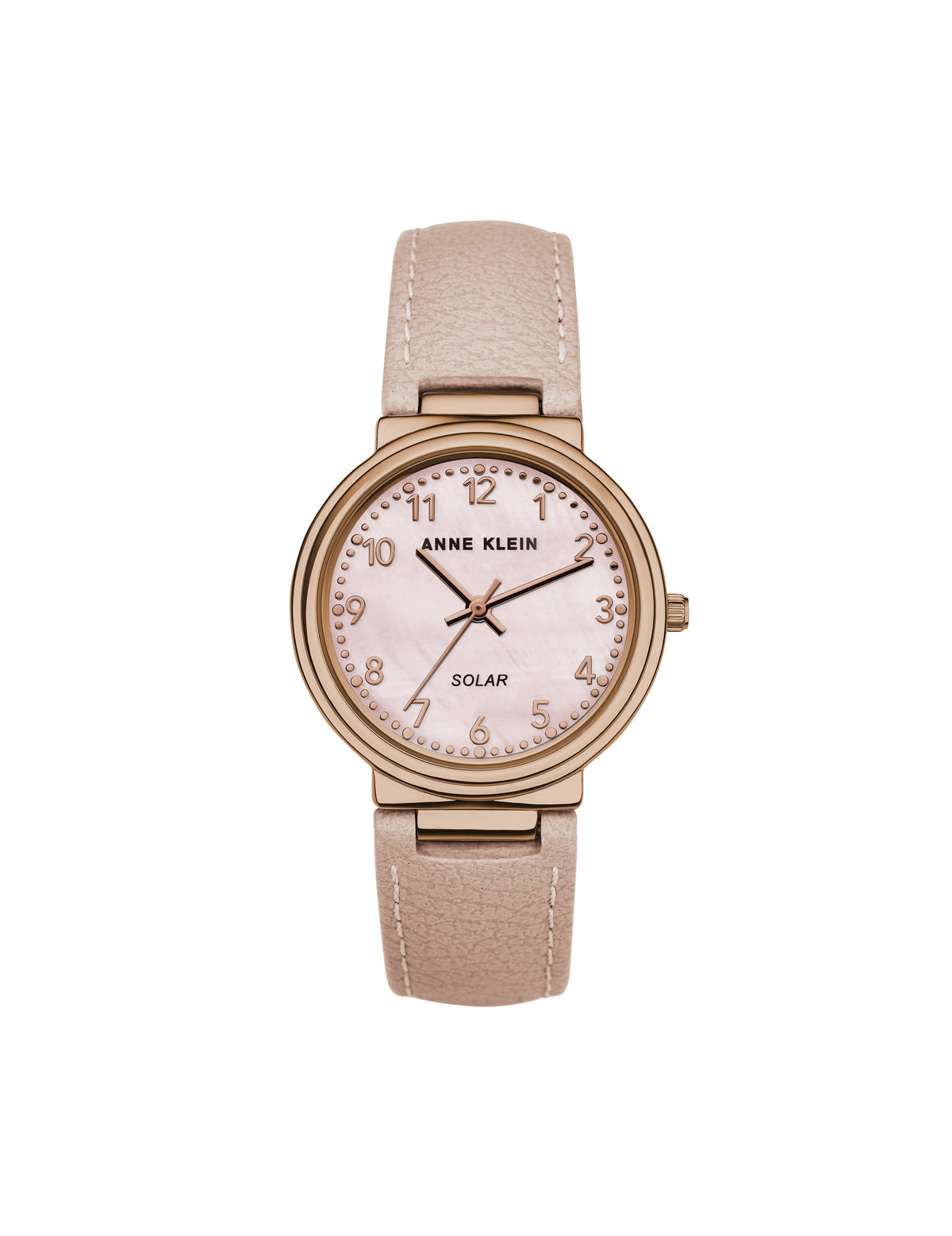 considered solar powered easy read dial blush pink rose gold apple peel leather strap watch