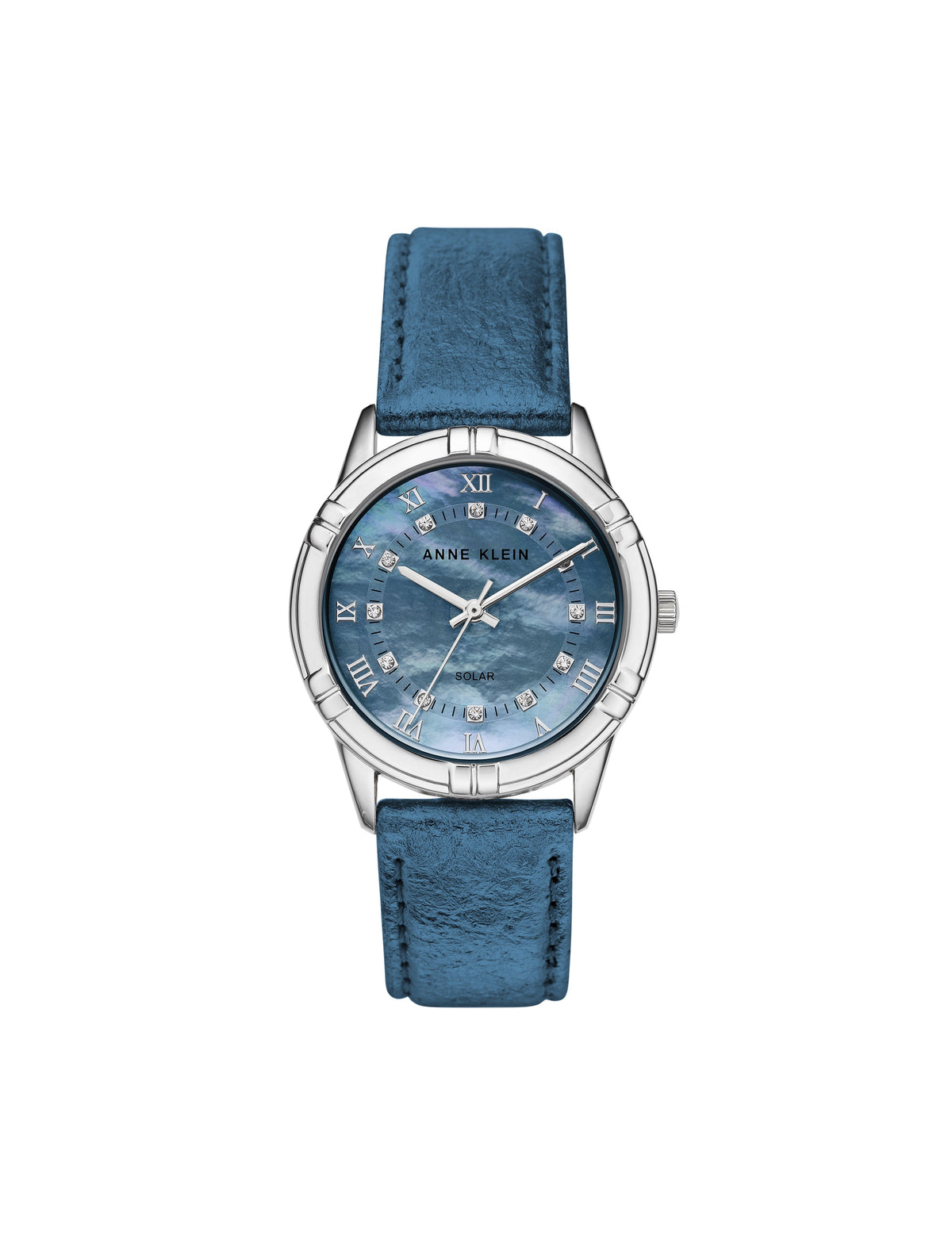 considered solar powered swarovski crystal accented blue silver-tone pineapple peel leather strap watch
