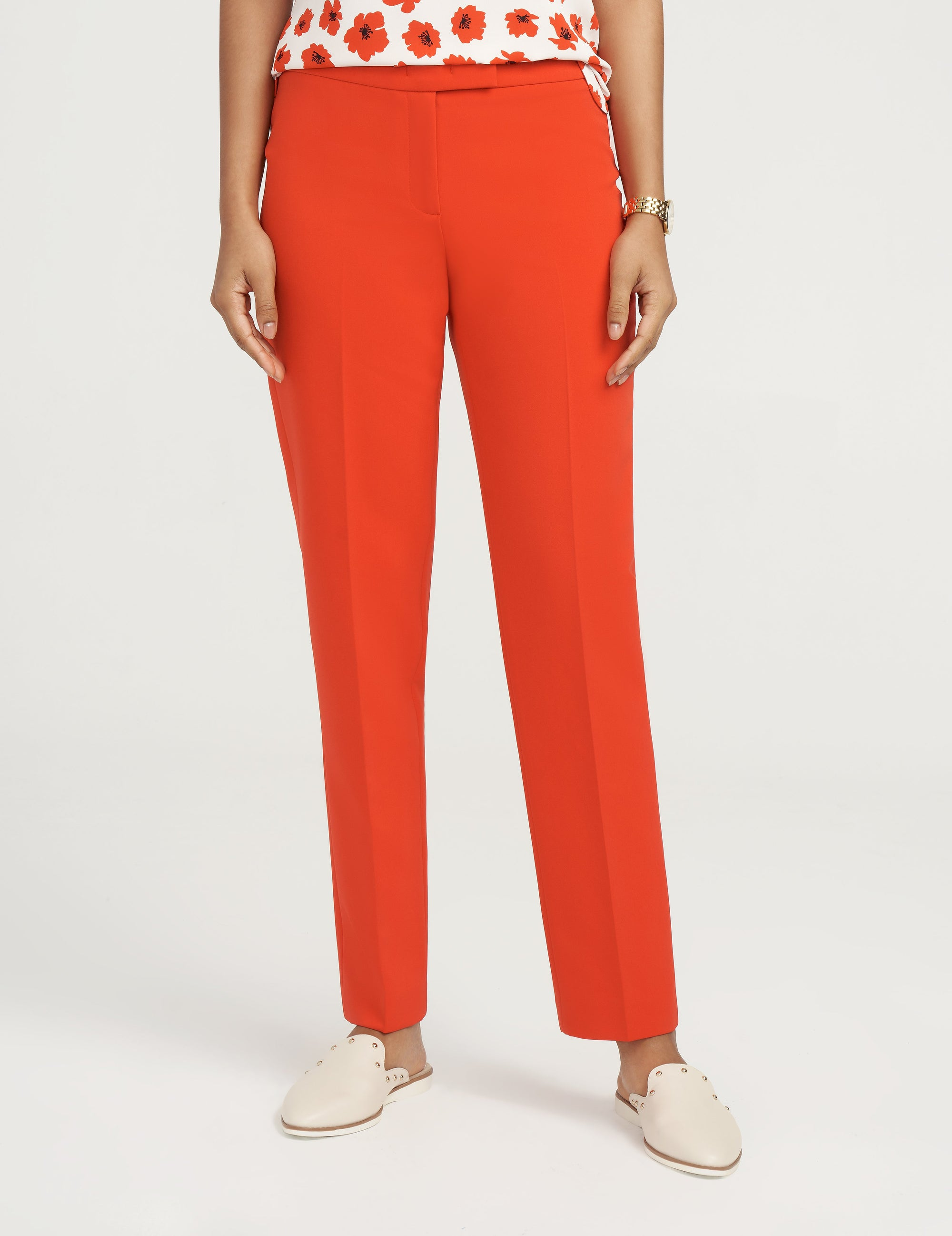 Anne Klein Contour Stretch Bowie Pant Poppy