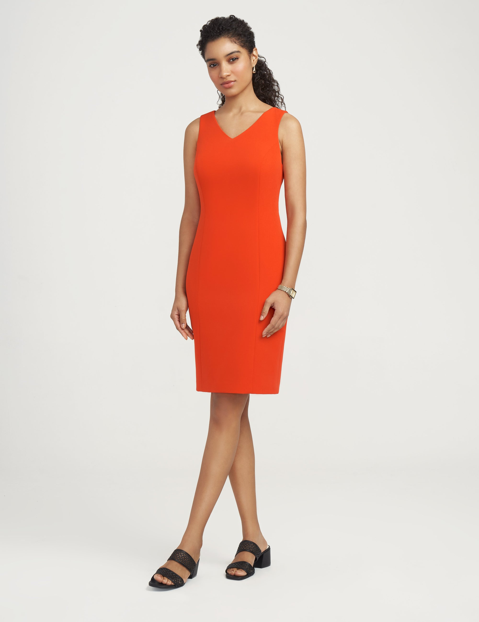 Anne Klein Contour Stretch V-Neck Sheath Dress Poppy