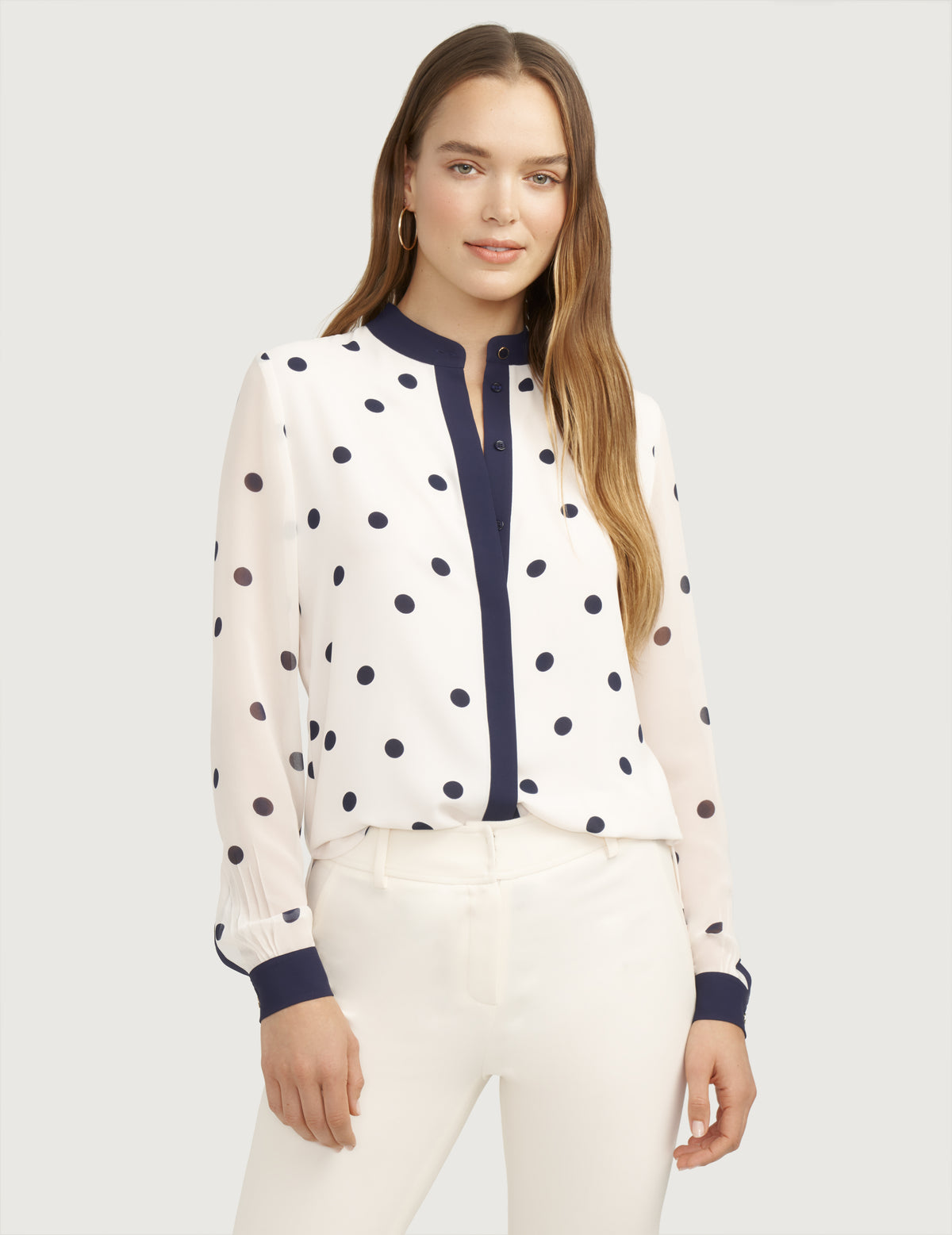 Covered Placket Collarless Oxford
