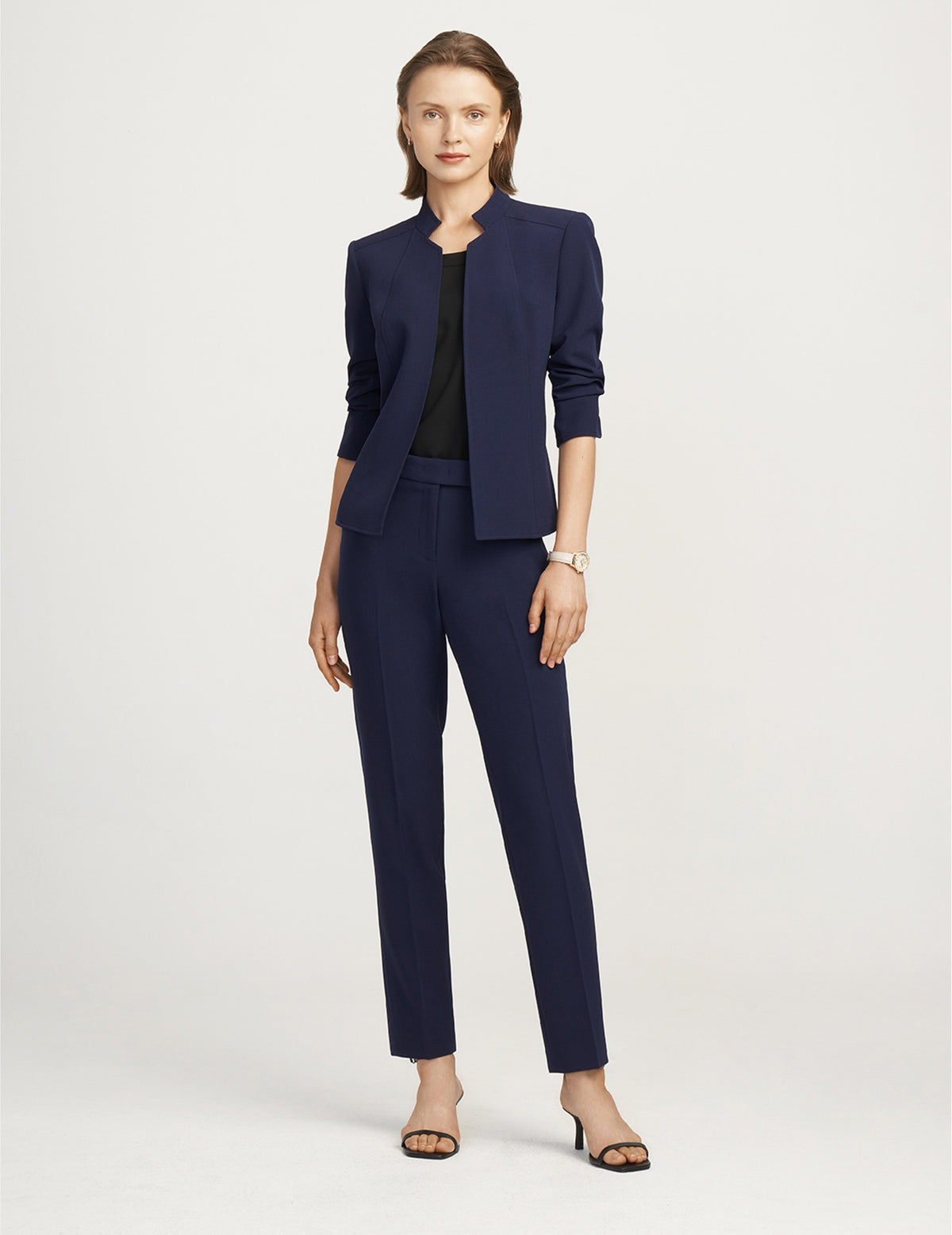 Anne Klein Distant Mountain Crepe Stand Collar Jacket