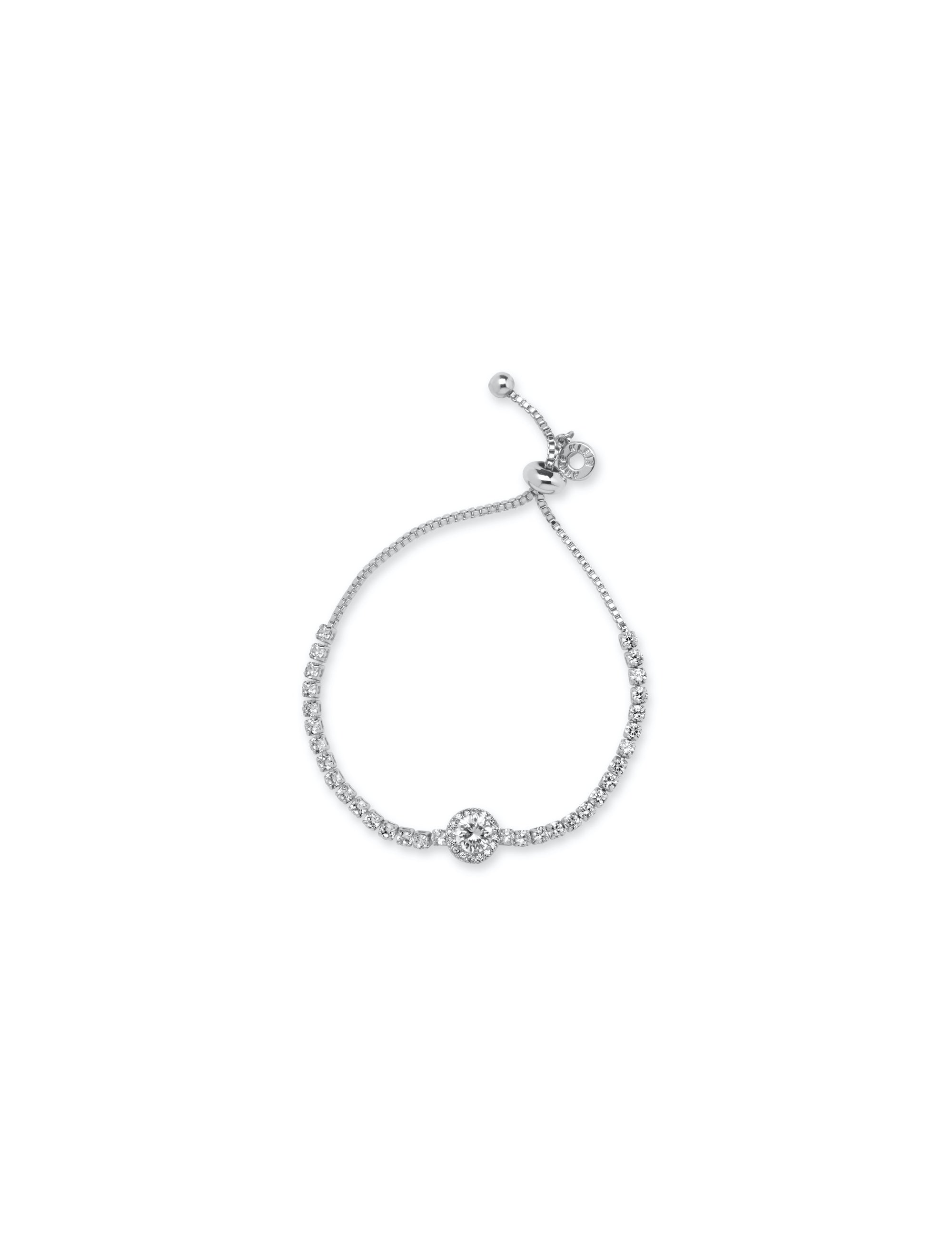 crystal pave accent slider closure silver tone solitaire halo stone bracelet