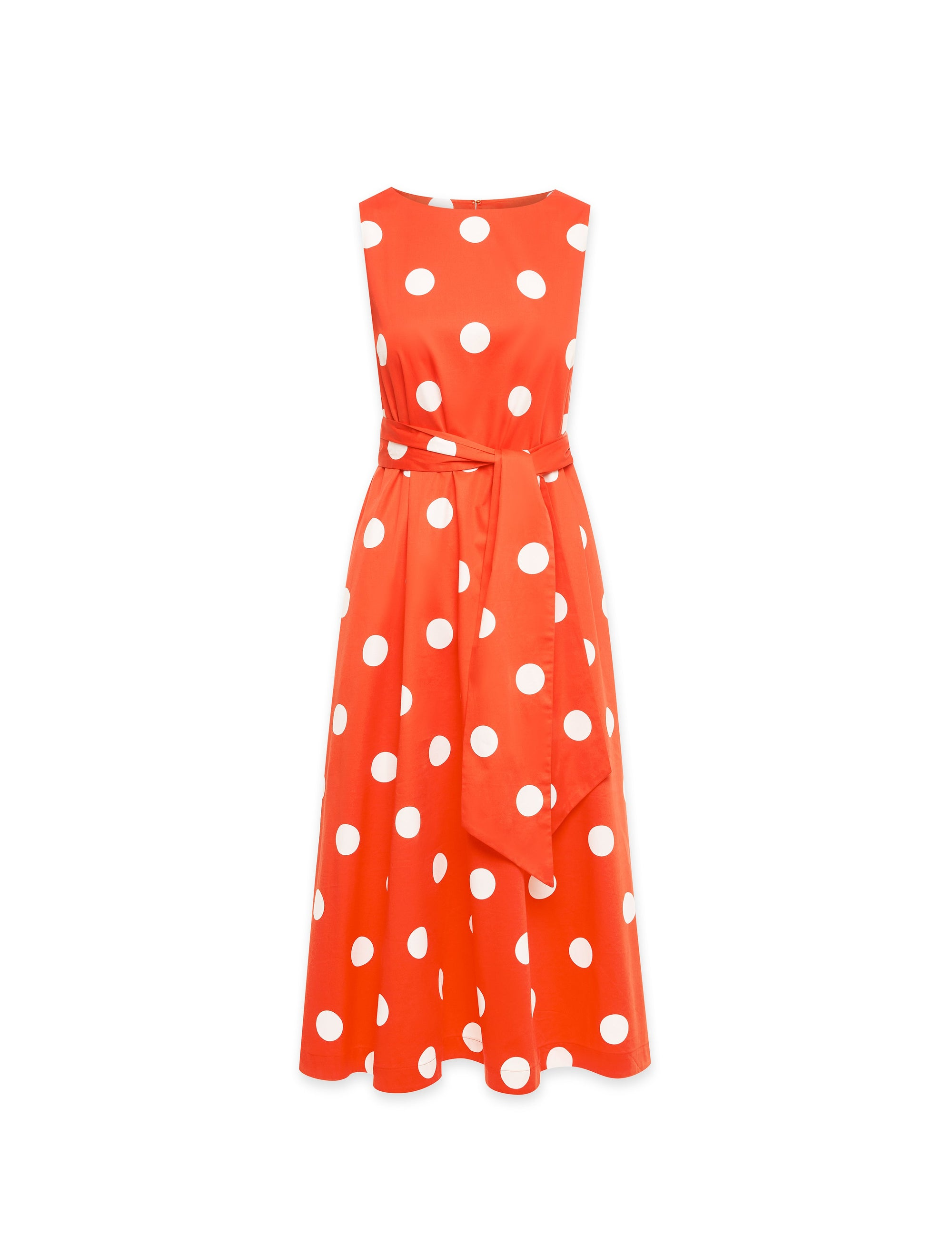Anne Klein Deauville Dot Midi Dress With Attached Sash in Poppy/White