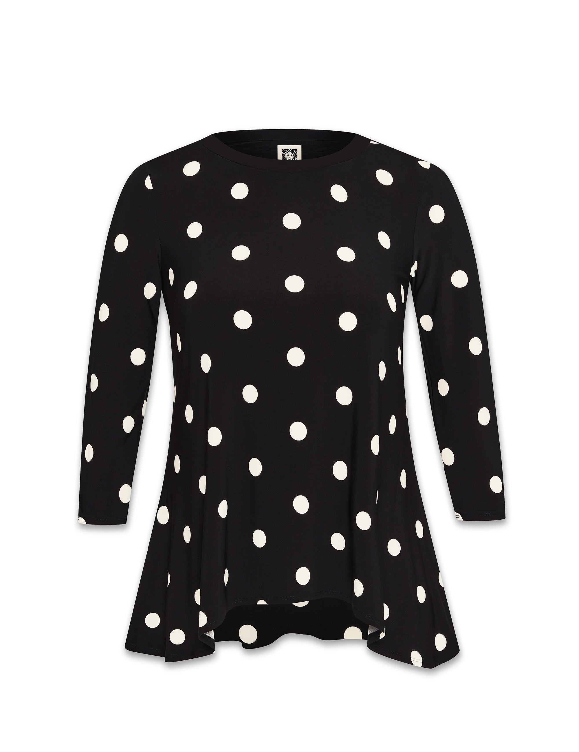 Anne Klein Black/White Large Dot Sharkbite Knit Top