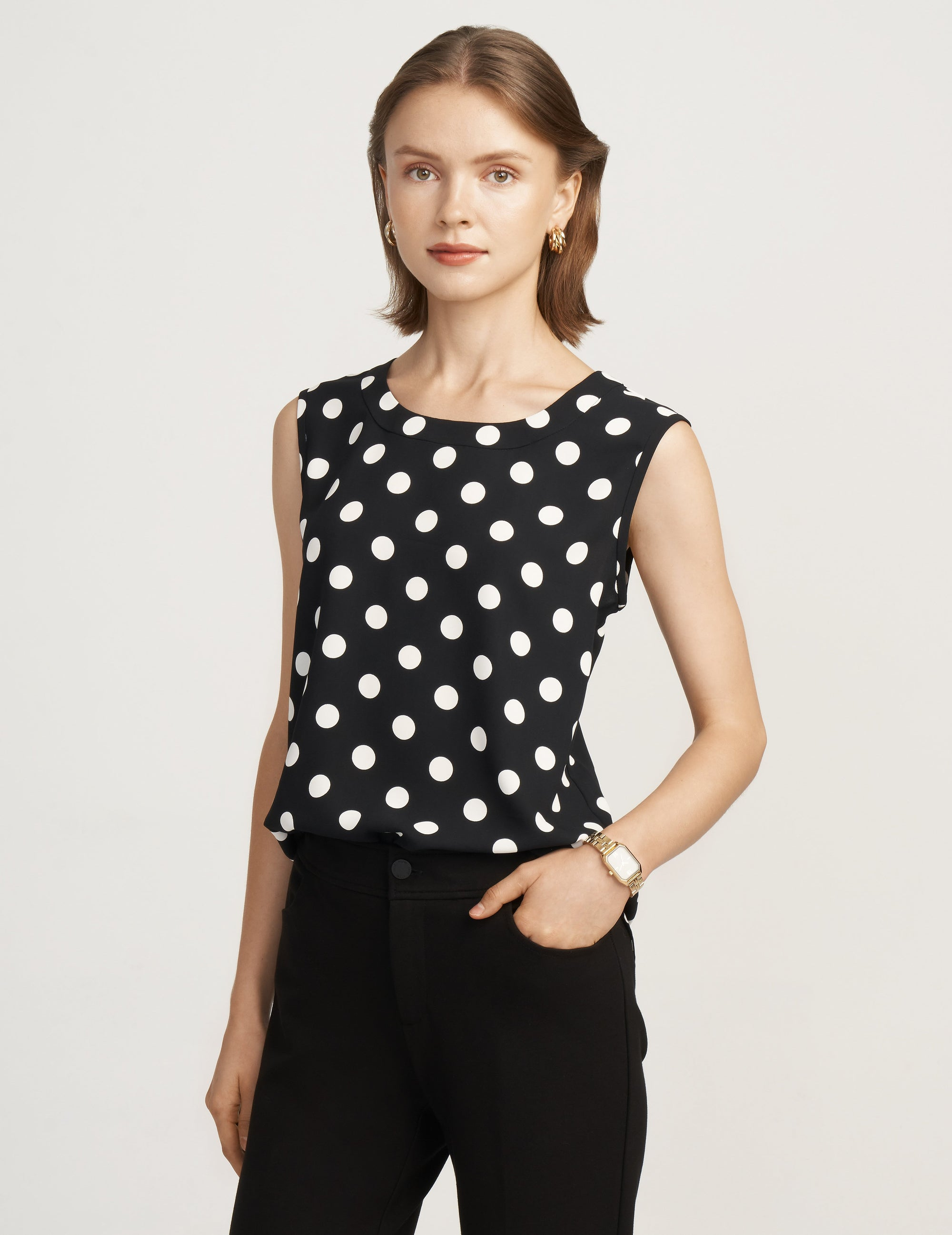 Anne Klein Black/White Dot Print Sleeveless U-Neck Shell