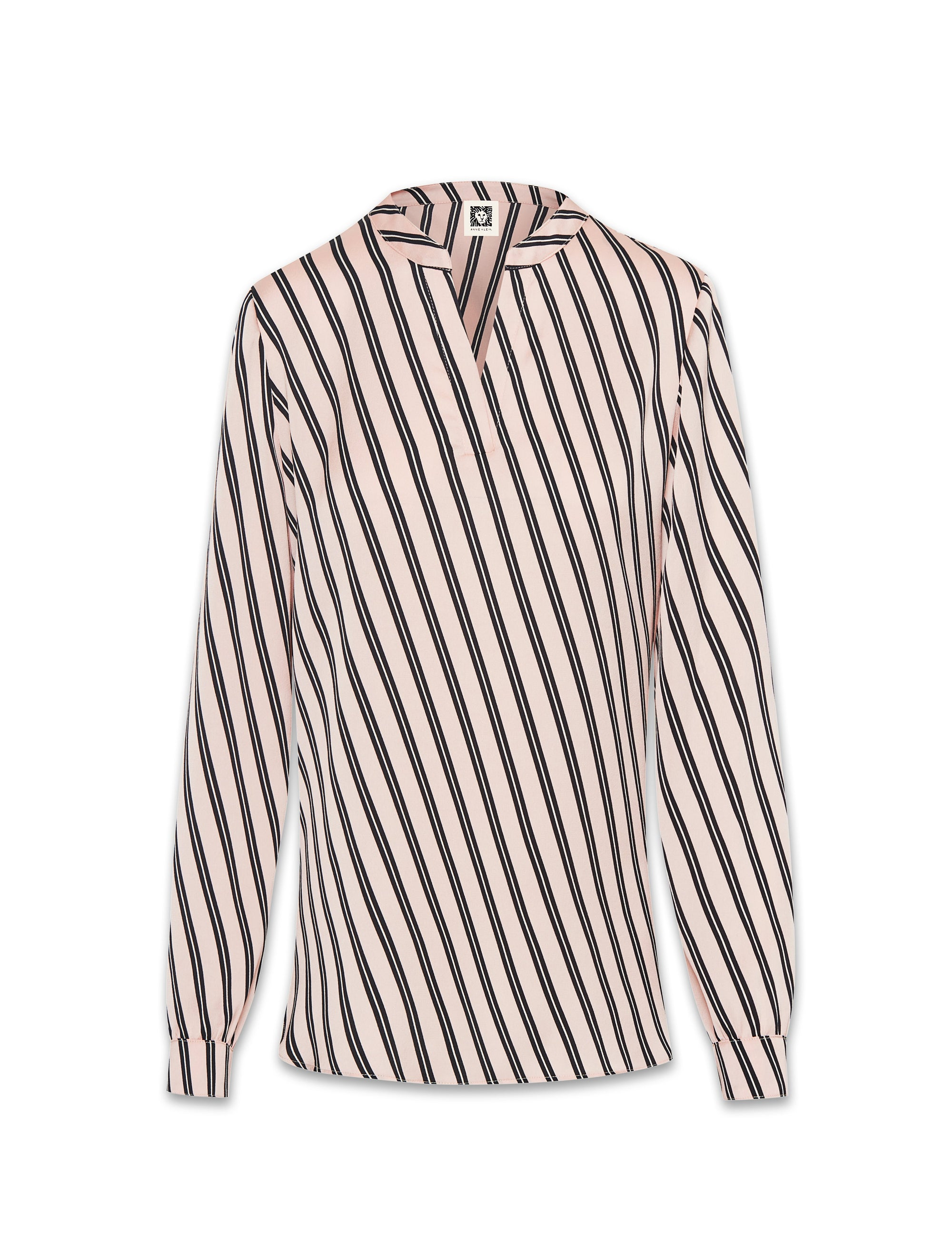 Anne Klein Bias Stripe Split Neck Long Sleeve Devonshire Blouse