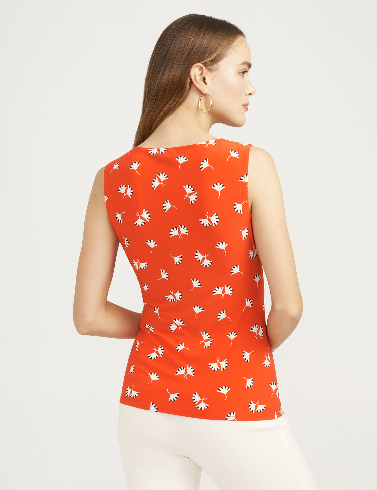 Anne Klein Ginza Print Side Twist Sleeveless Top Poppy/Anne White Combo