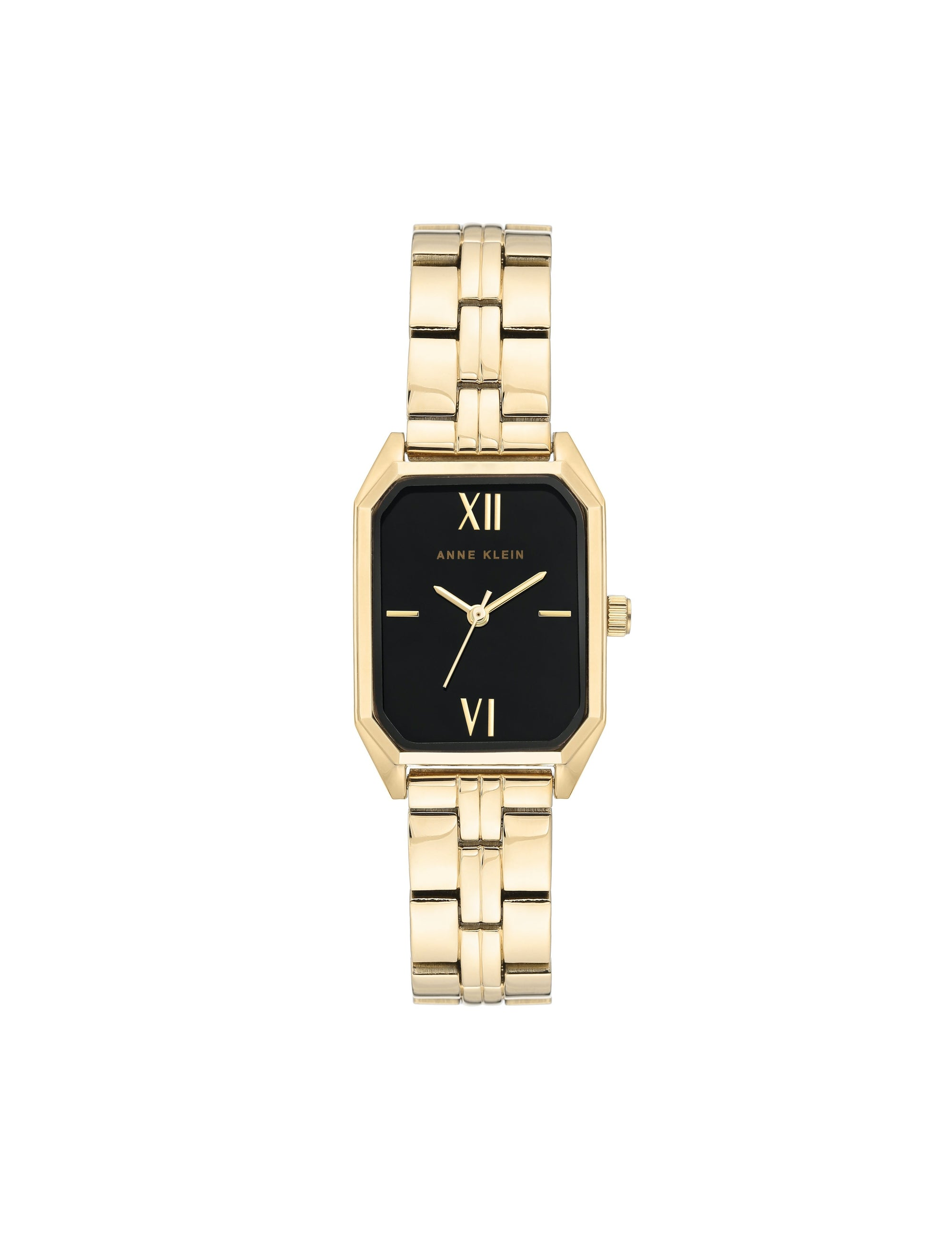 gold black bracelet watch octagon shaped case