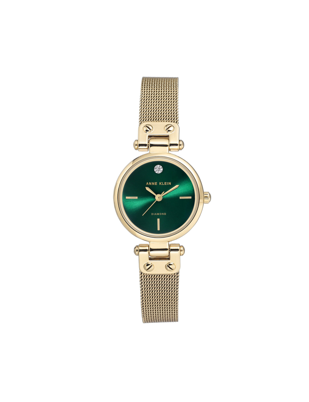 gold green genuine diamond dial mesh bracelet watch