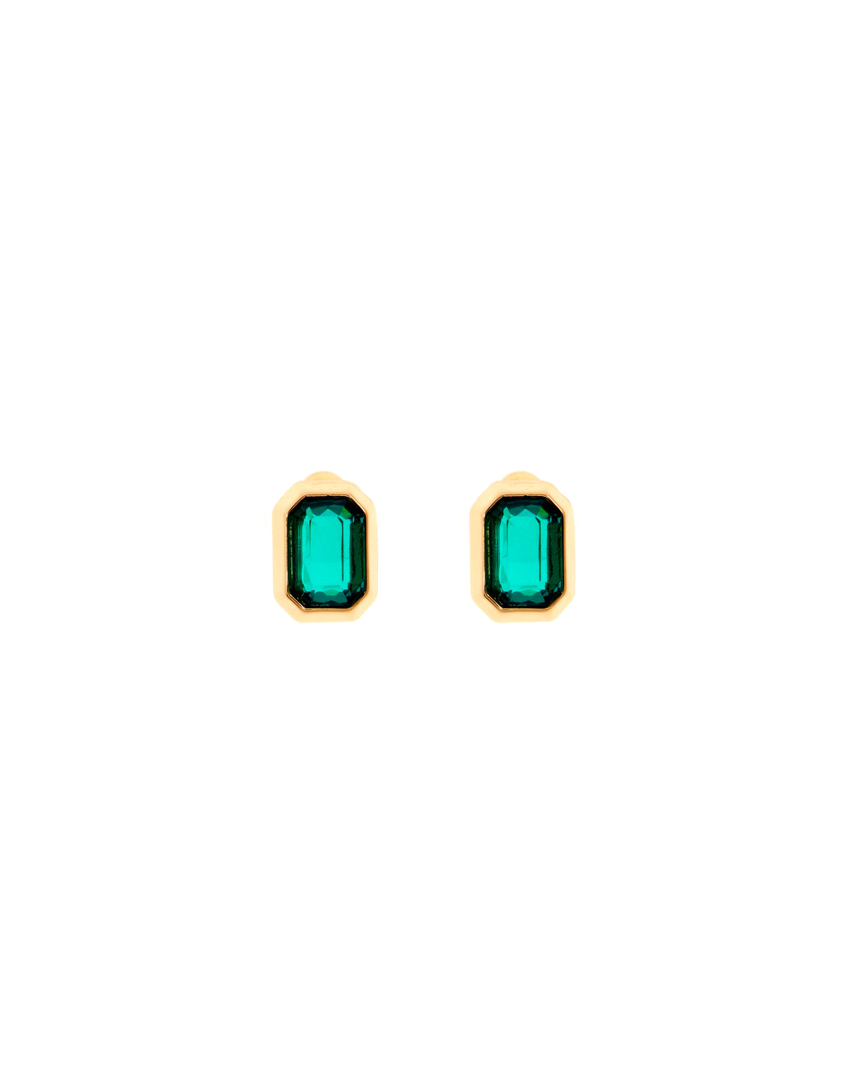 Gold-Tone Emerald Earrings & Mask Set