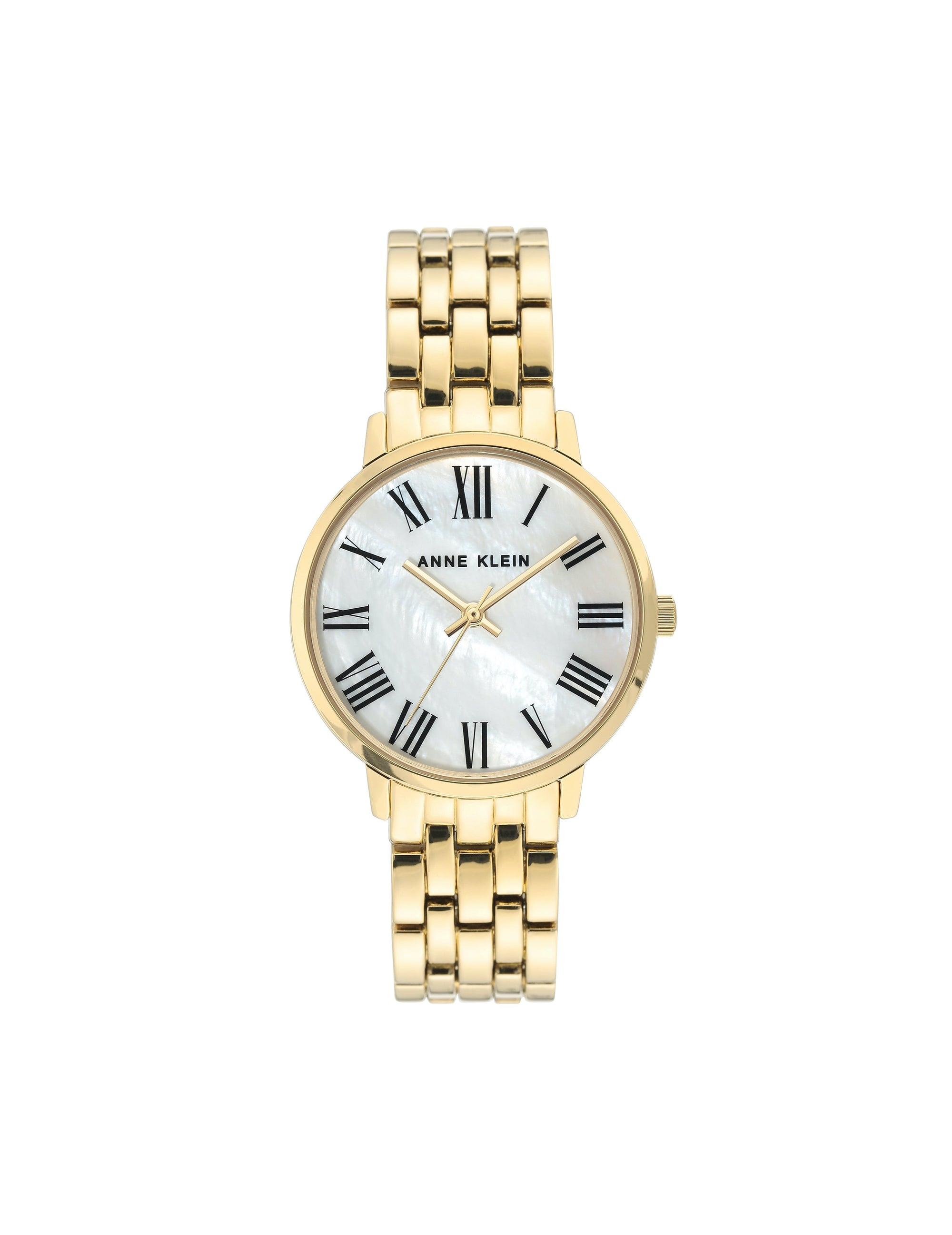gold mother of pearl dial bracelet watch