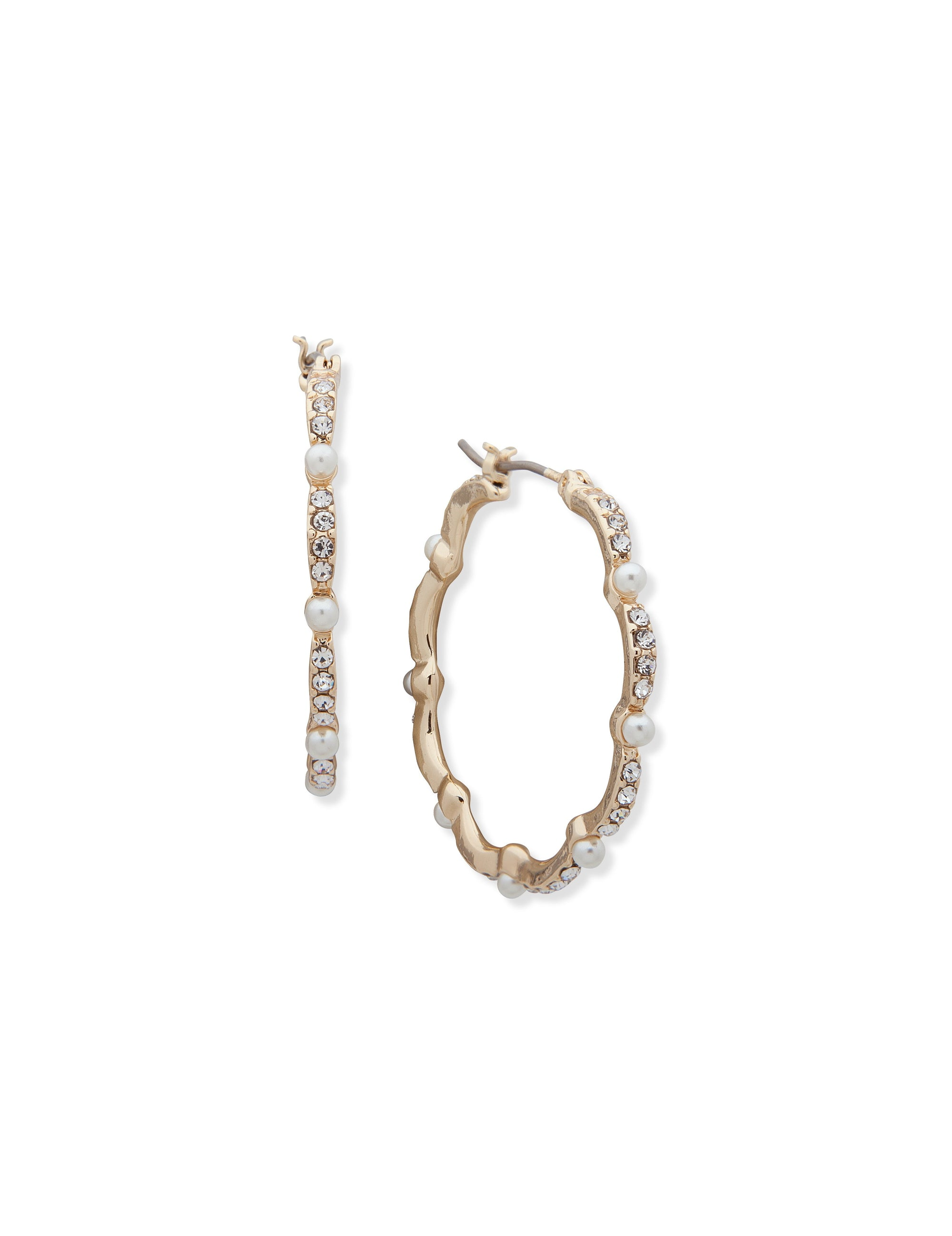 gold tone pave click top hoop earring with pave and pearl details.