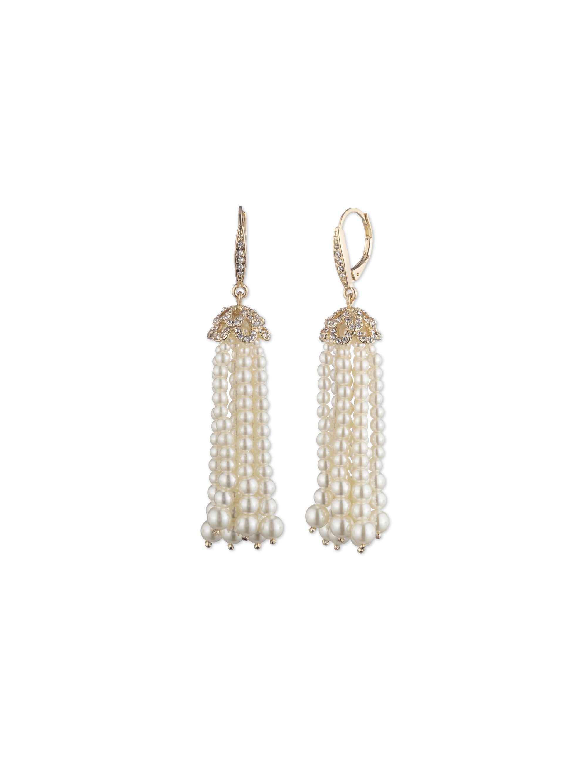 gold tone pearl tassel linear earring with movement